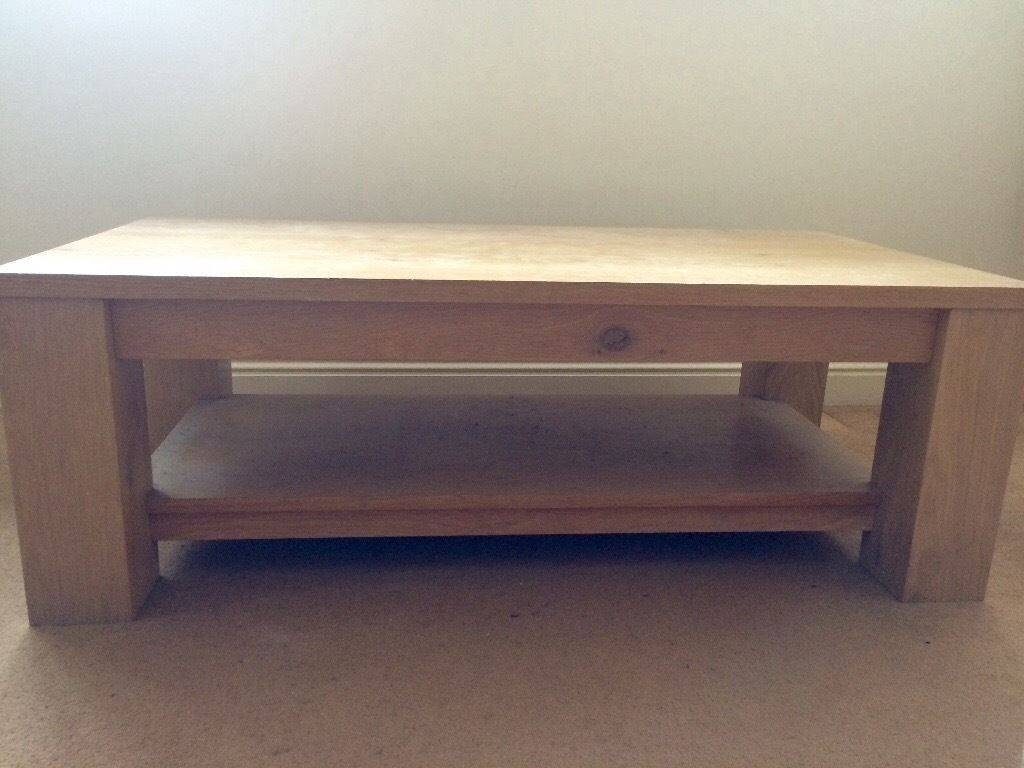 Chunky Contemporary Solid Oak Veneer Coffee Table With Magazine for Oak Veneer Coffee Tables (Image 2 of 15)