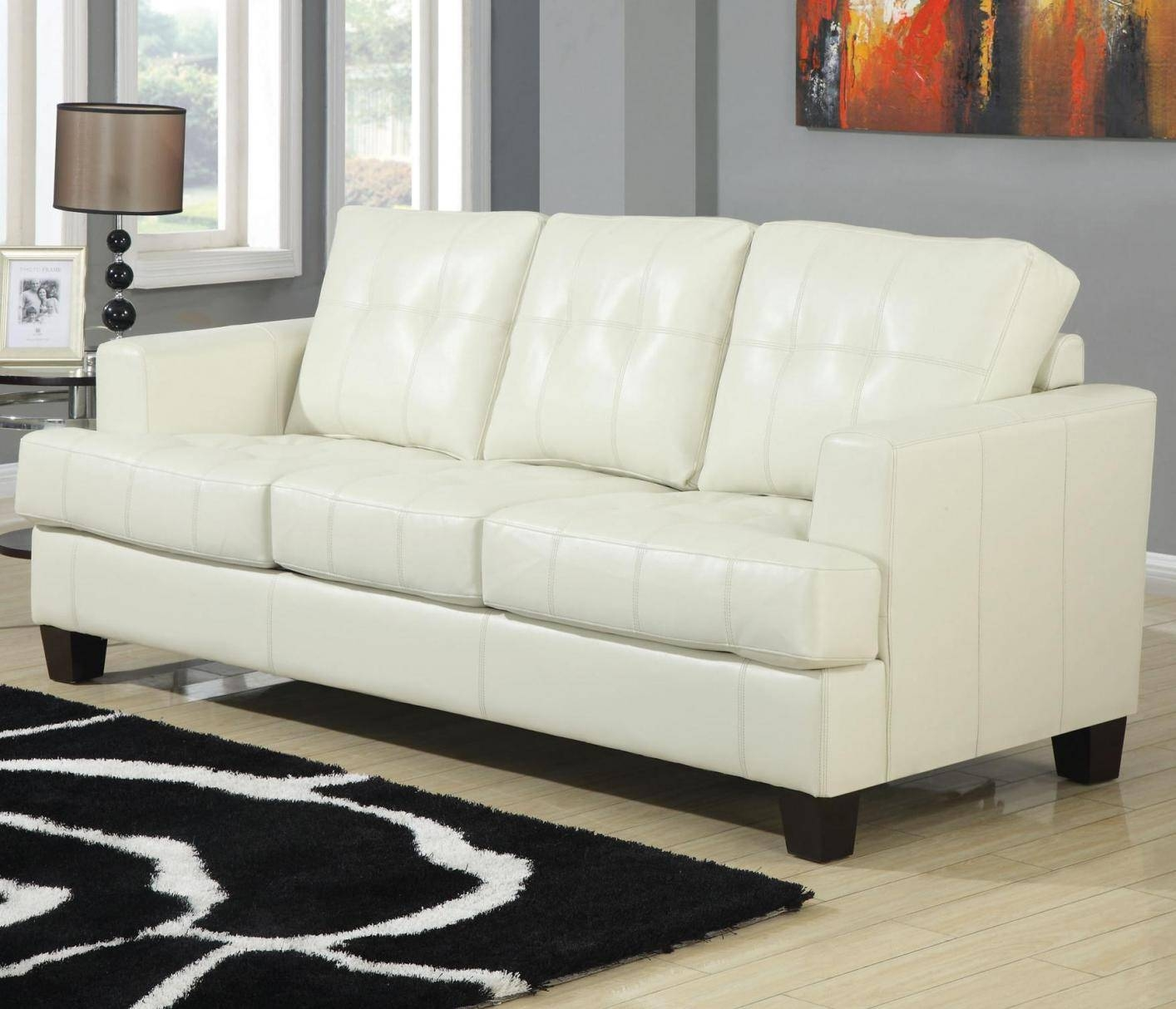 Cindy Crawford Home Inspiration Graphic Beige Leather Sofa – Home With Regard To Cindy Crawford Leather Sofas (View 2 of 15)