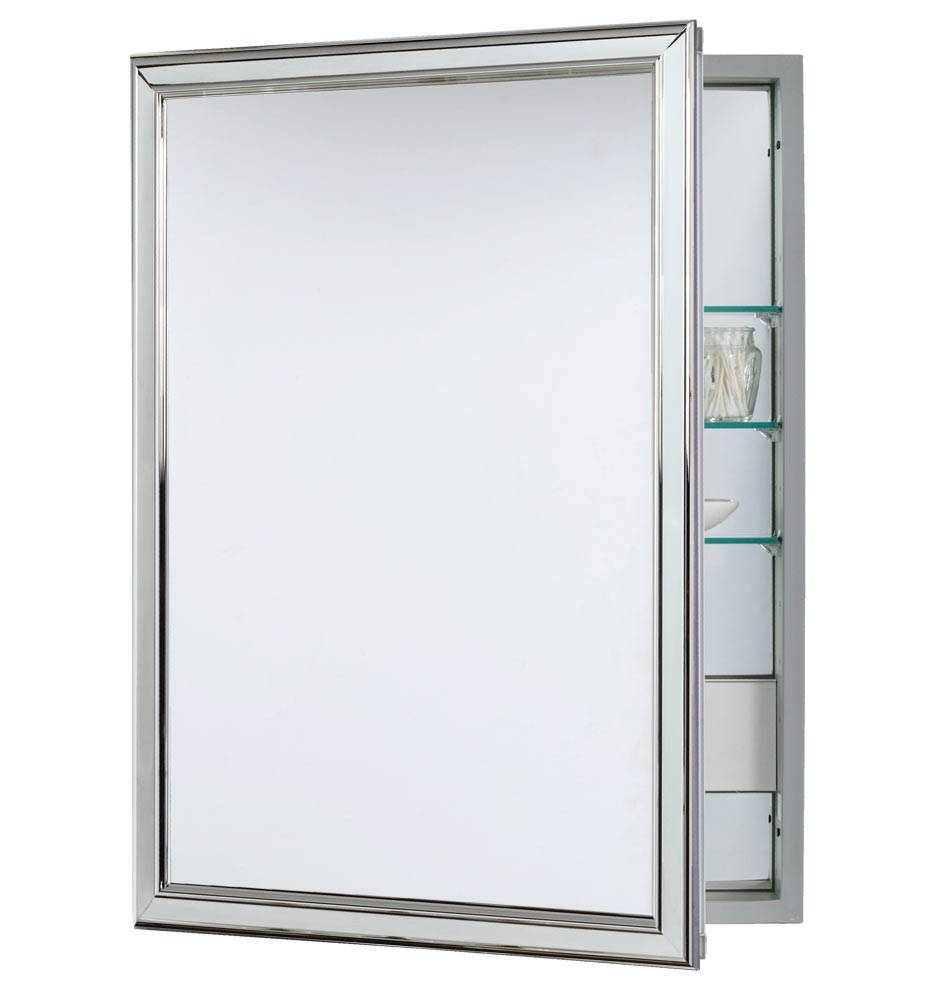 Classic Framed Medicine Cabinet With Outlet – Polished Chrome Intended For Chrome Framed Mirrors (View 8 of 15)