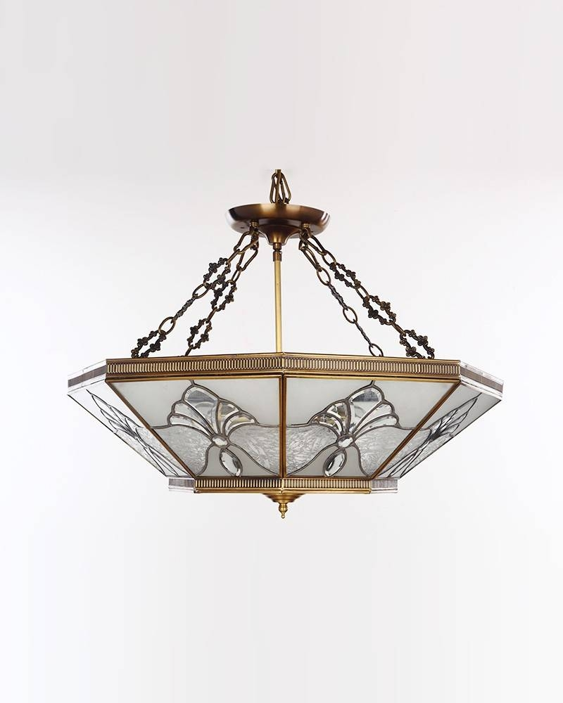Classical Style Frosted Copper Glazing Octagon Pendant Light regarding Octagon Pendant Lights (Image 4 of 15)