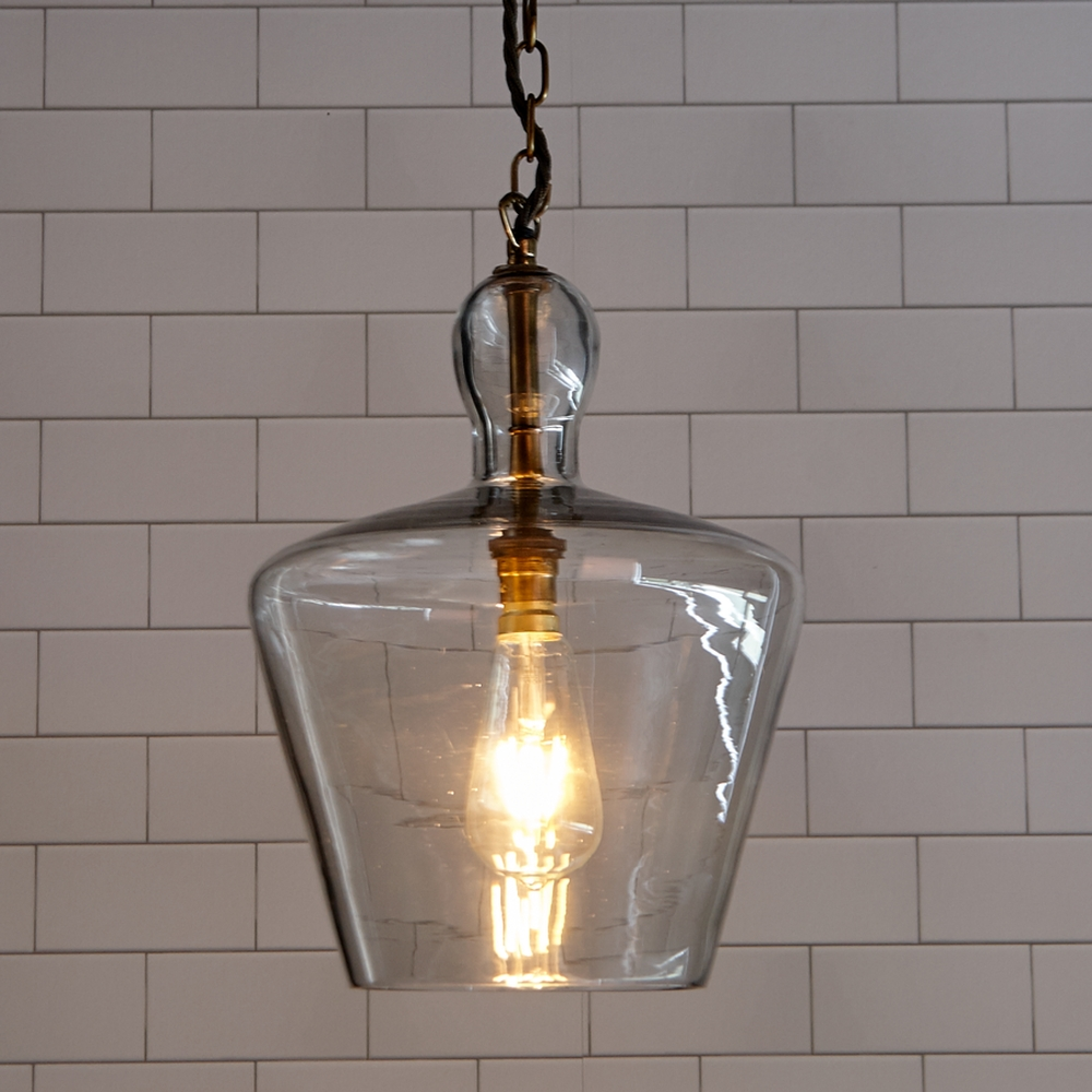 Clear Blown Glass Pendant Lights – A Buyer's Guide regarding Demijohn Pendant Lights (Image 8 of 15)