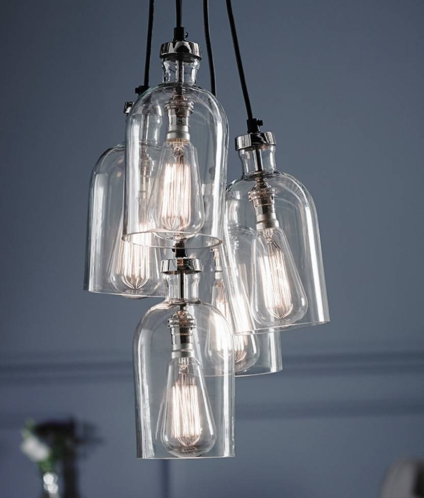 Clear Glass 5 Light Multi Pendant Regarding Cluster Glass Pendant Light Fixtures (View 2 of 15)