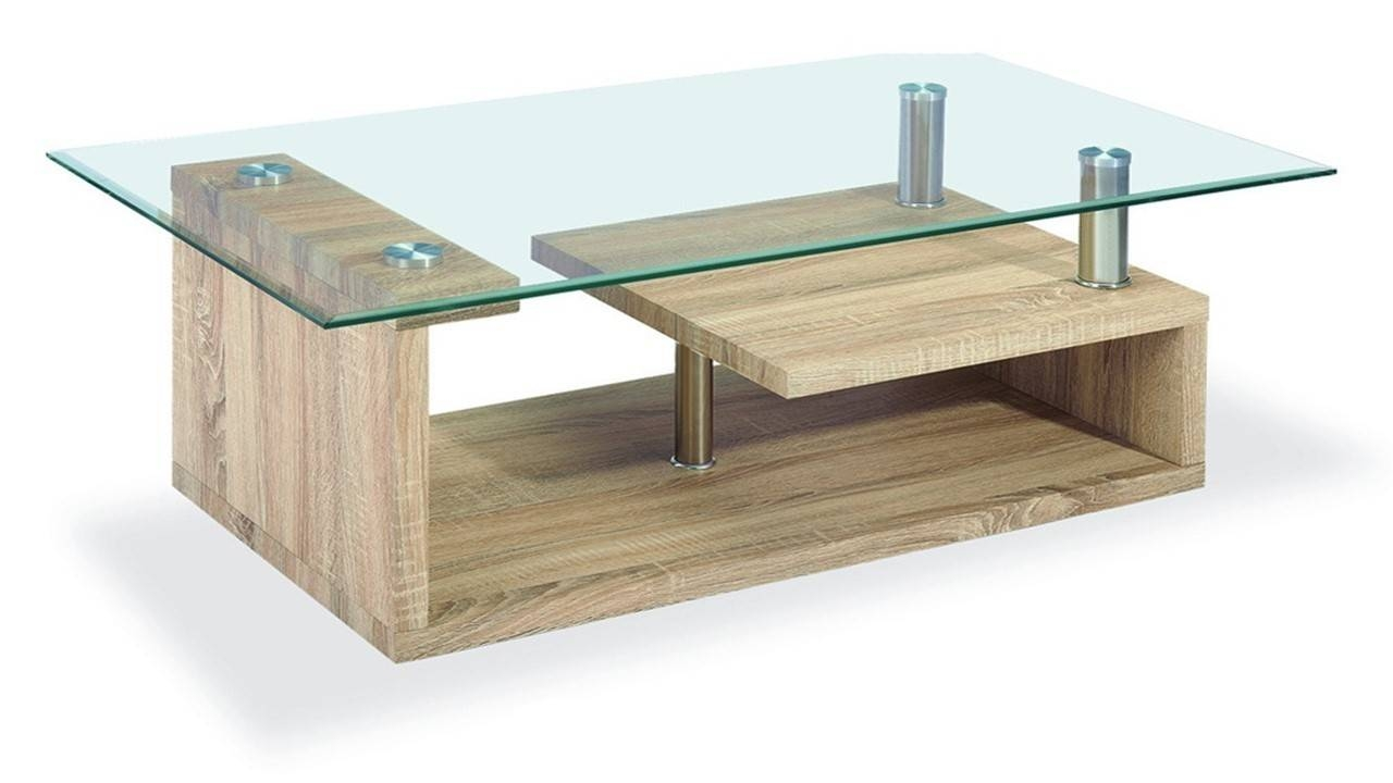 Clear Glass Coffee Table Wood Veneer Base - Homegenies pertaining to Oak Coffee Table With Glass Top (Image 2 of 15)