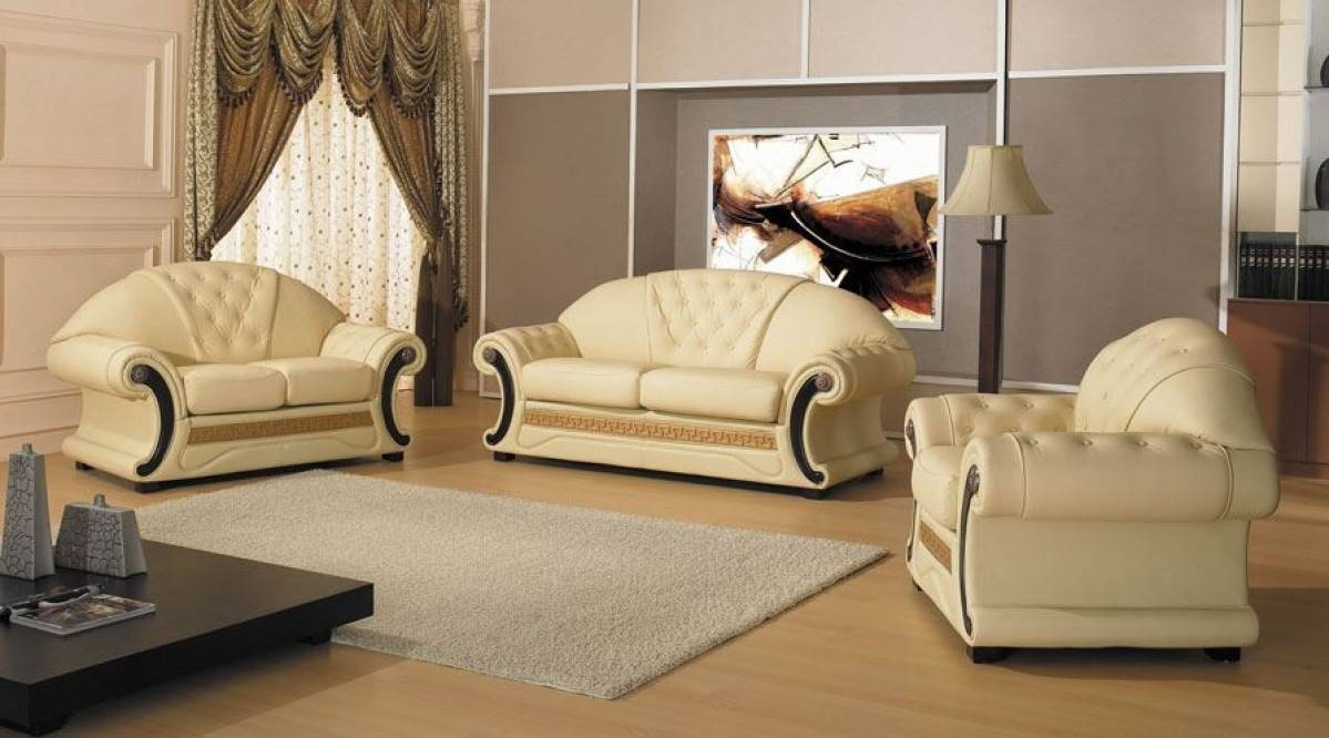 Cleopatra – Traditional Leather Sofa Set In Cleopatra Sofas (View 1 of 15)