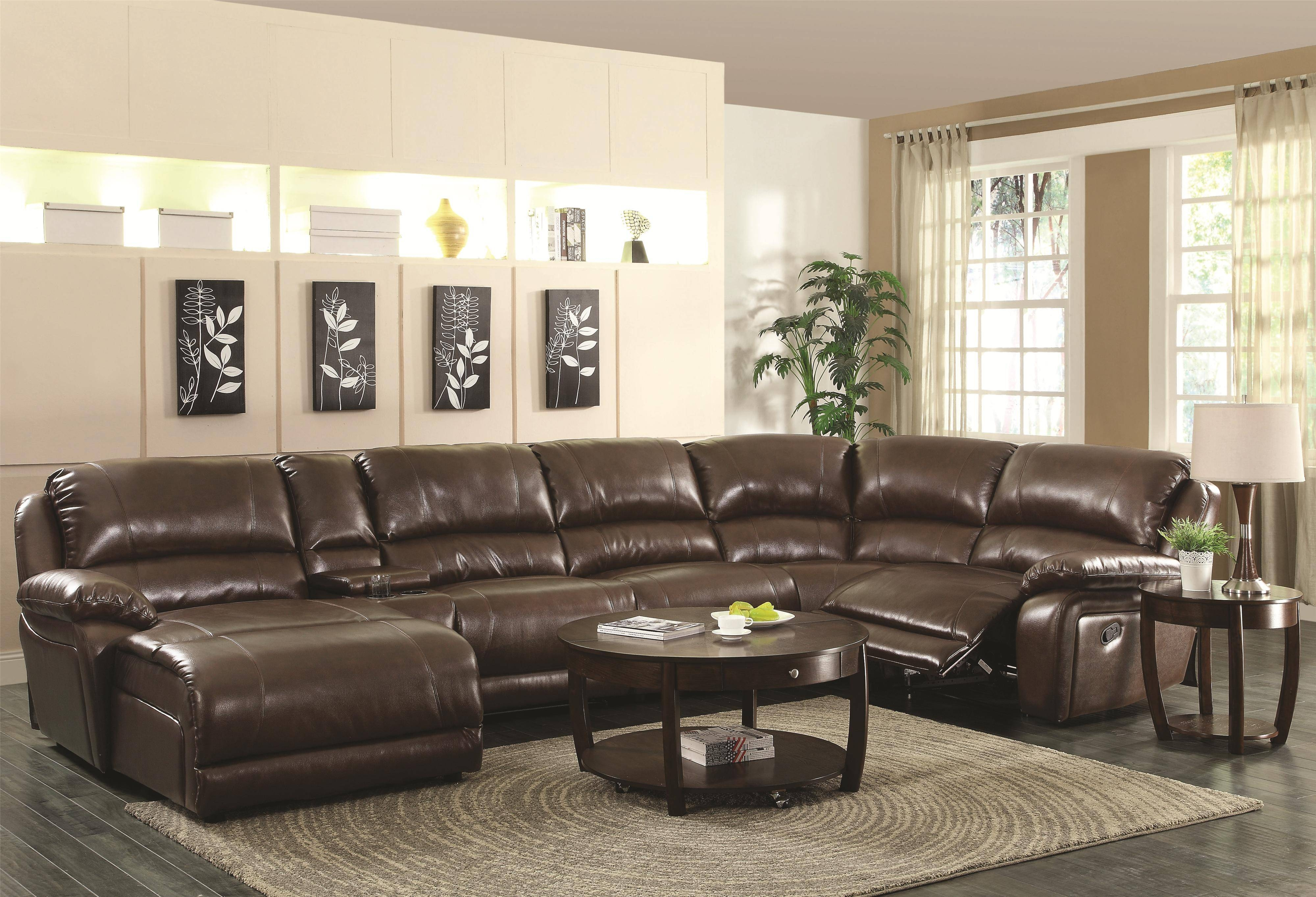 Coaster Mackenzie Chestnut 6-Piece Reclining Sectional Sofa With with regard to 6 Piece Sectional Sofas Couches (Image 5 of 15)