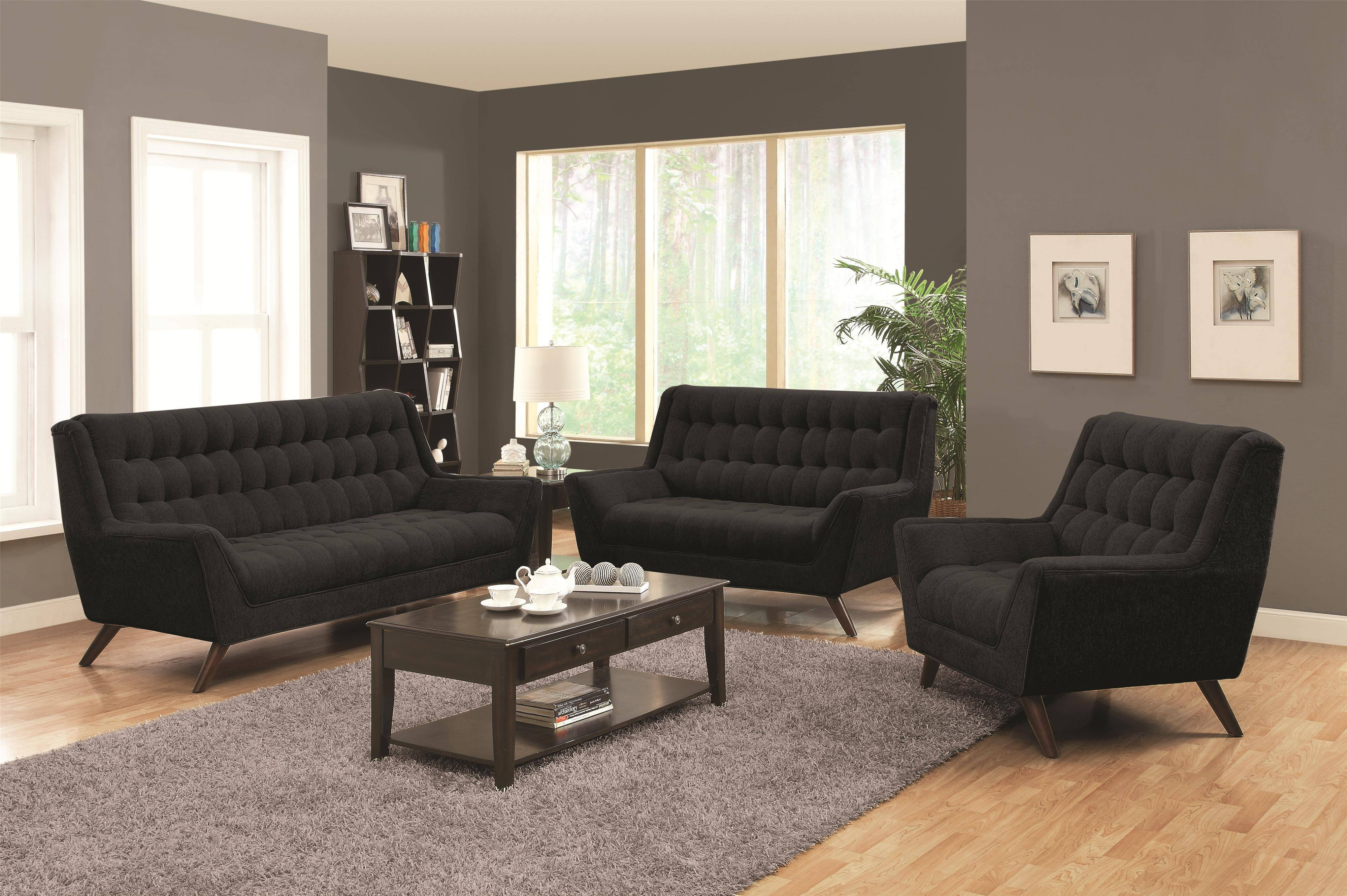 Coaster Natalia Retro Sofa W/ Flared Arms - Coaster Fine Furniture pertaining to Retro Sofas And Chairs (Image 3 of 15)
