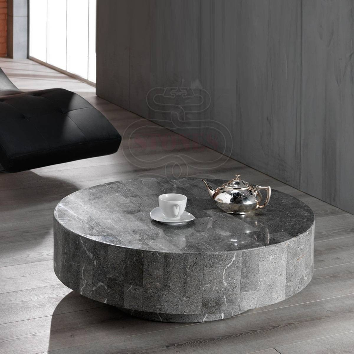Coffee Table Awesome Grey Charcoal Round White Stone Country Ele within Stone Coffee Table (Image 5 of 15)