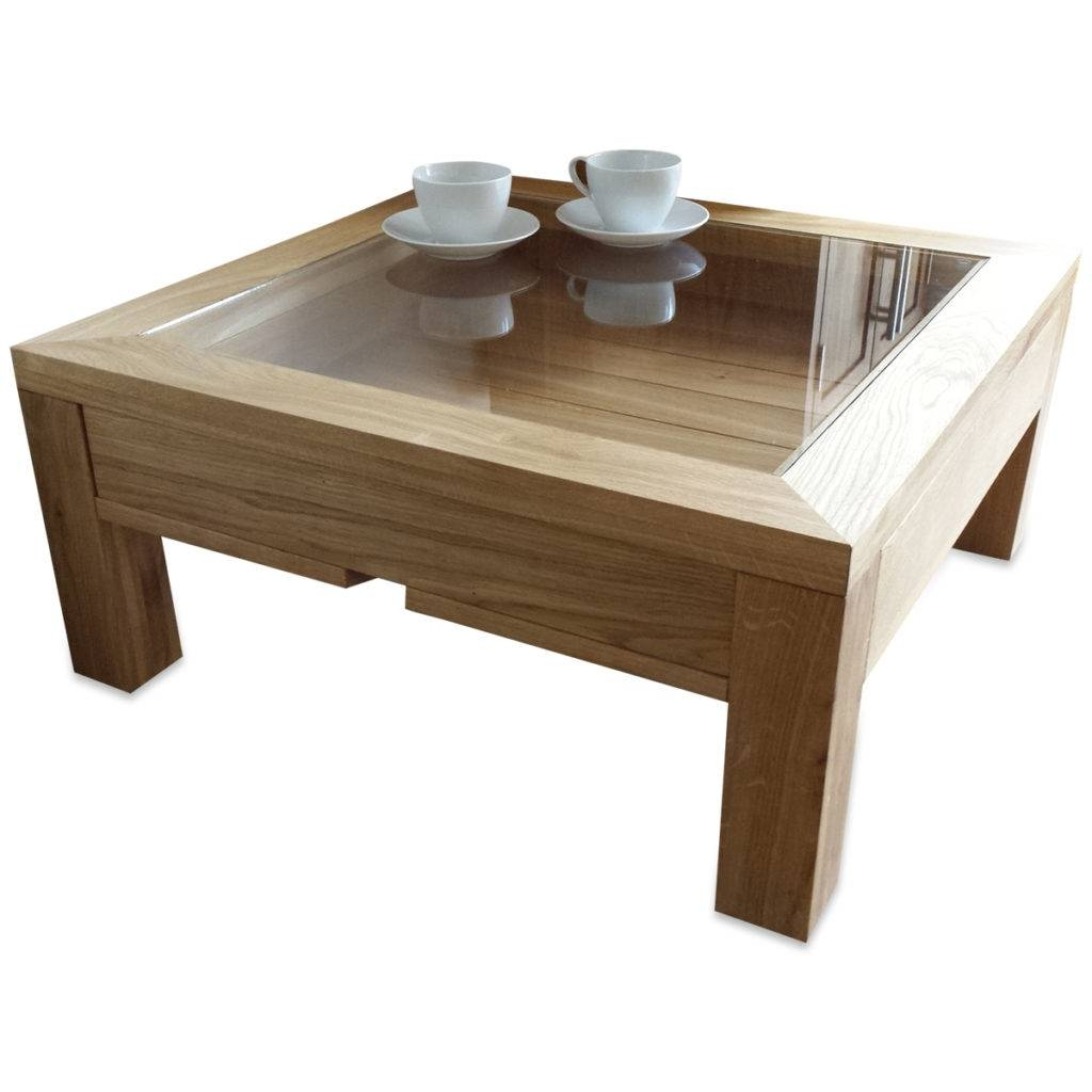Coffee Table Glass Top Display Drawer - Amazoak with Oak And Glass Coffee Table (Image 3 of 15)