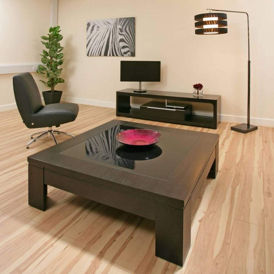 Coffee Table Large Square Black Oak Black Glass Modern Hi Quality within Oak and Glass Coffee Table (Image 4 of 15)
