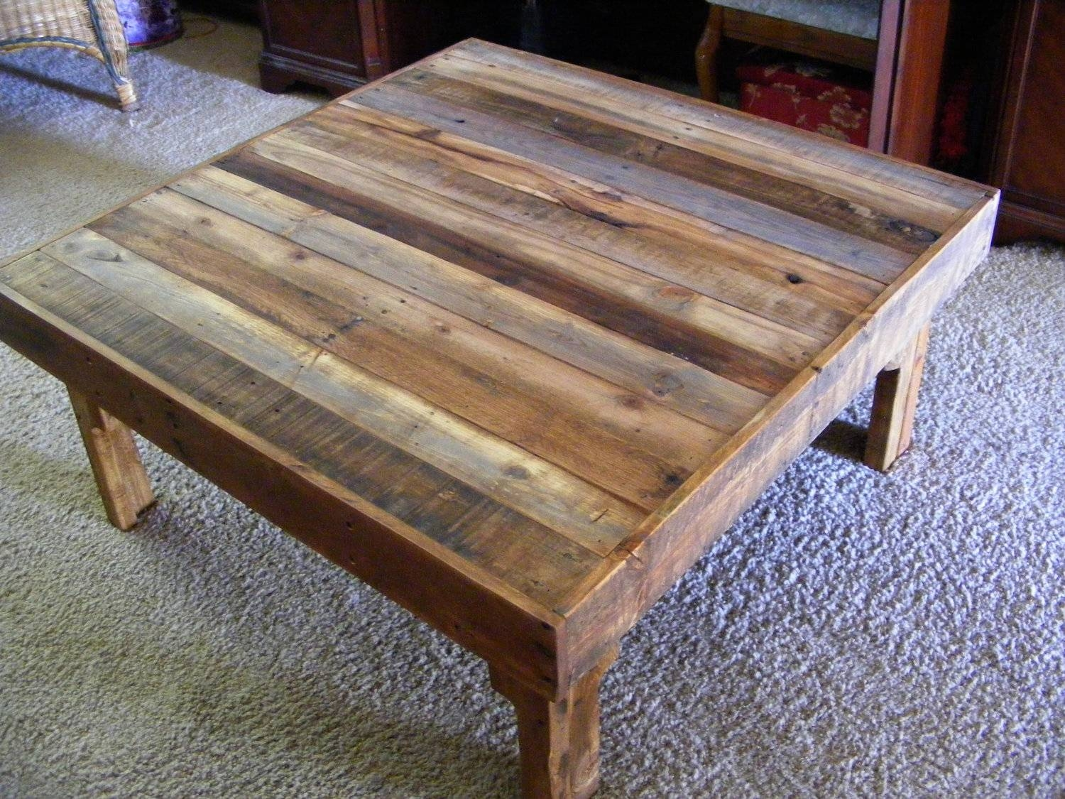Coffee Table Rustic Outstanding Rustic Wood Coffee Table Diy inside Square Wooden Coffee Table (Image 3 of 15)