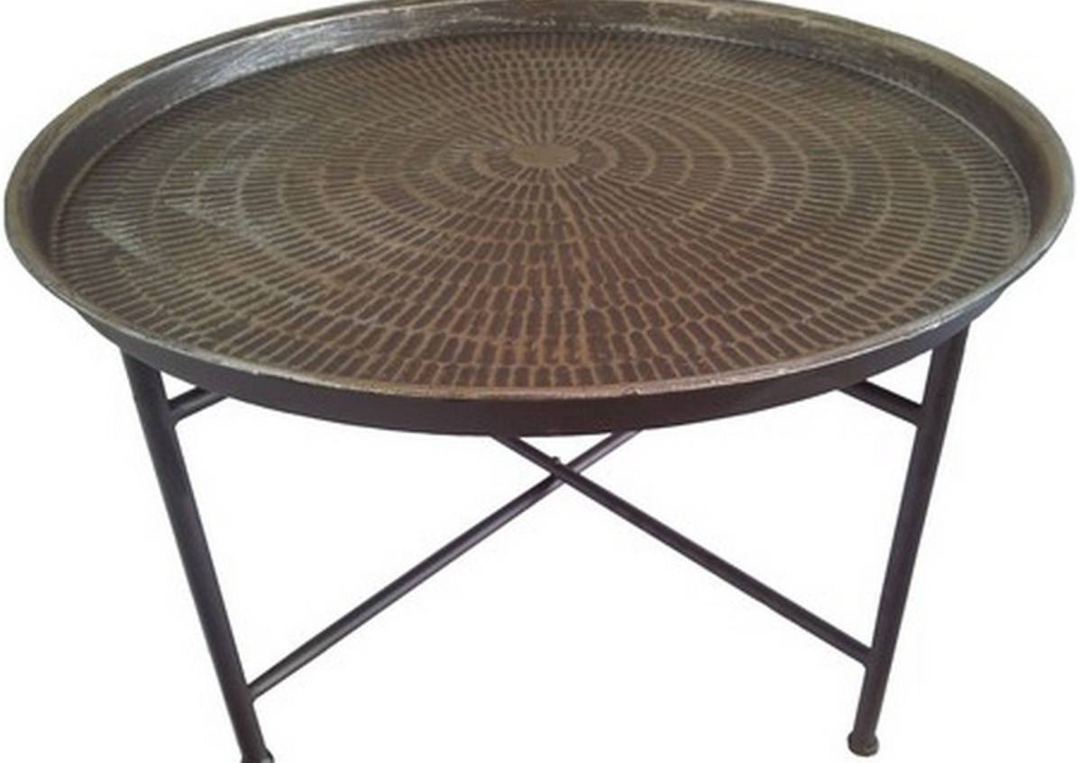 Coffee Tables : Beautiful Round Coffee Table Glass Metal Trendy throughout Round Metal Coffee Tables (Image 3 of 15)