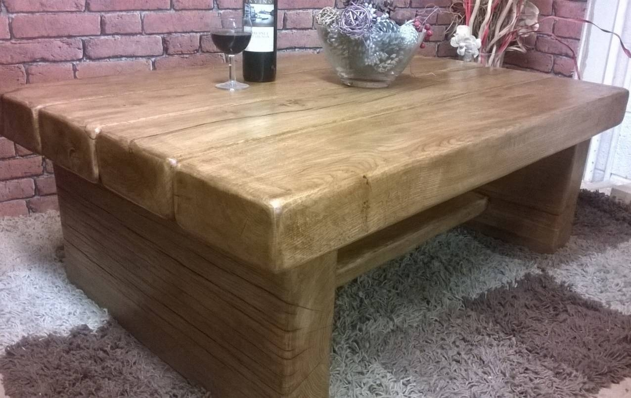 Coffee Tables : Low Solid Oak Beam Coffee Table In Hove East Inside Solid Oak Beam Coffee Table (View 5 of 15)