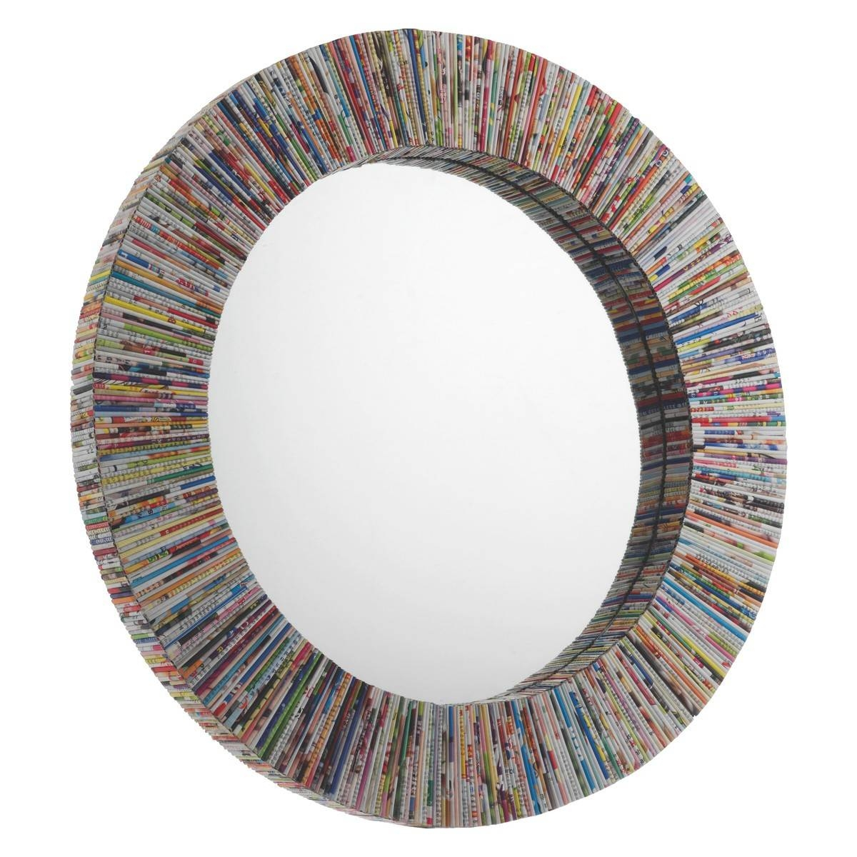 Cohen Multi-Coloured Recycled Magazine Round Wall Mirror | Buy Now throughout Funky Wall Mirrors (Image 4 of 15)