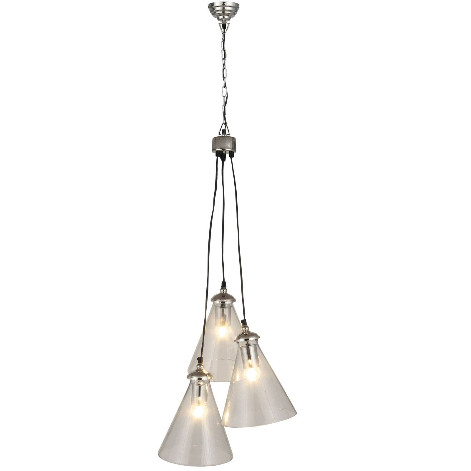 Cone Cluster Glass 3 Light Pendant Light For Cluster Glass Pendant Light Fixtures (View 4 of 15)