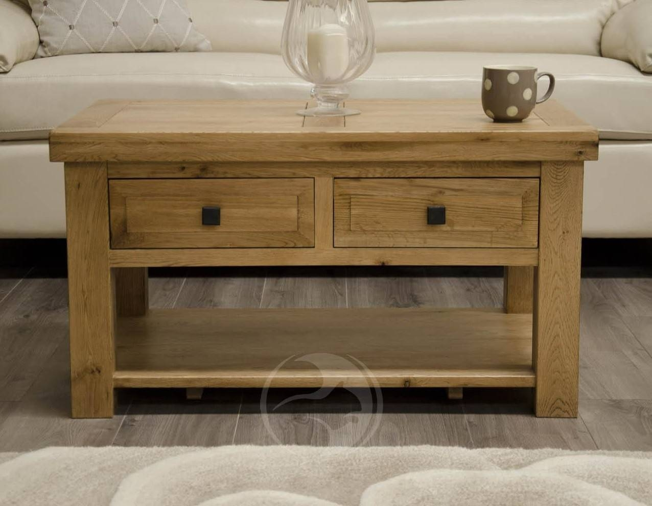 Coniston Rustic Solid Oak Coffee Table With Drawers | Oak Furniture Uk  Pertaining To Rustic Oak