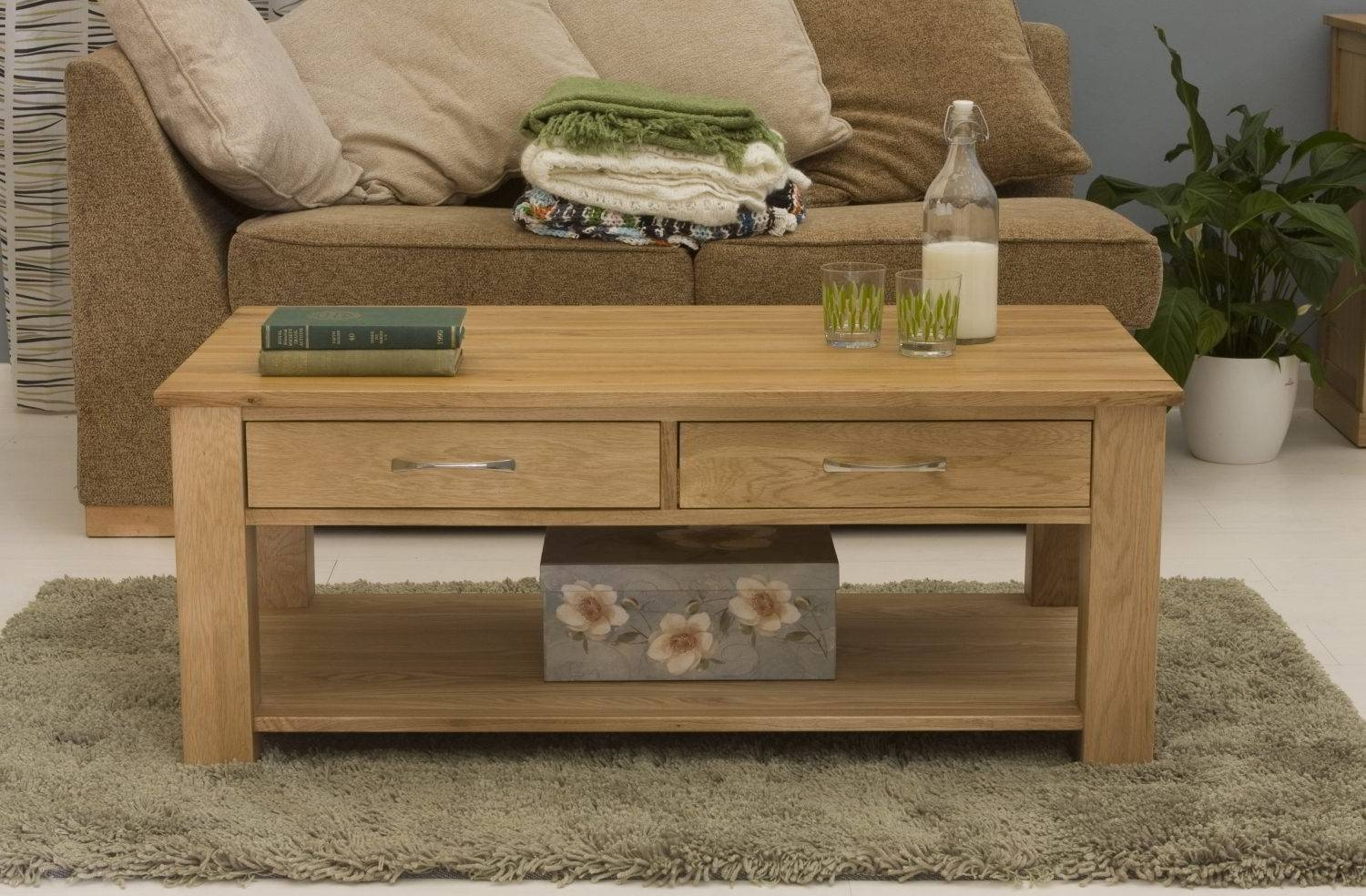 Conran Solid Oak Living Room Lounge Furniture Four Drawer Storage Within Oak Coffee Table With Storage (View 2 of 15)