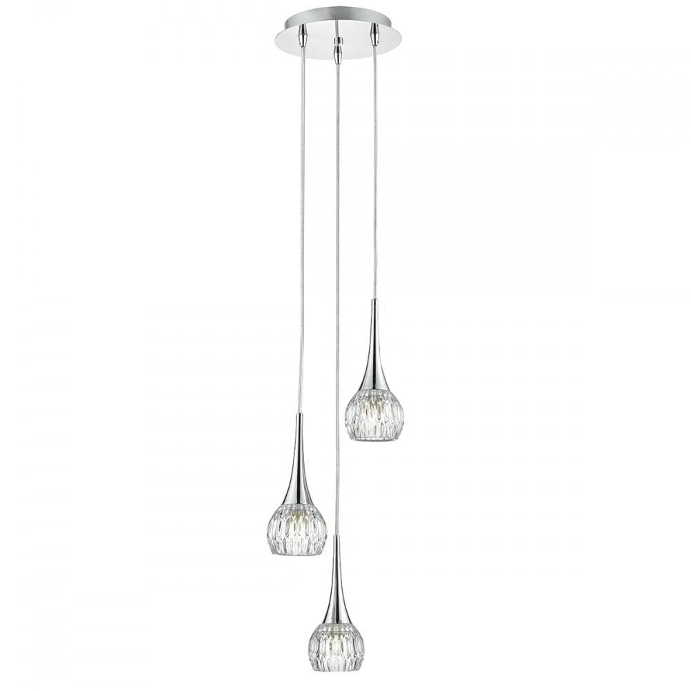 Contemporary 3 Light Ceiling Pendant Cluster In Polished Chrome For Cluster Glass Pendant Light Fixtures (View 5 of 15)