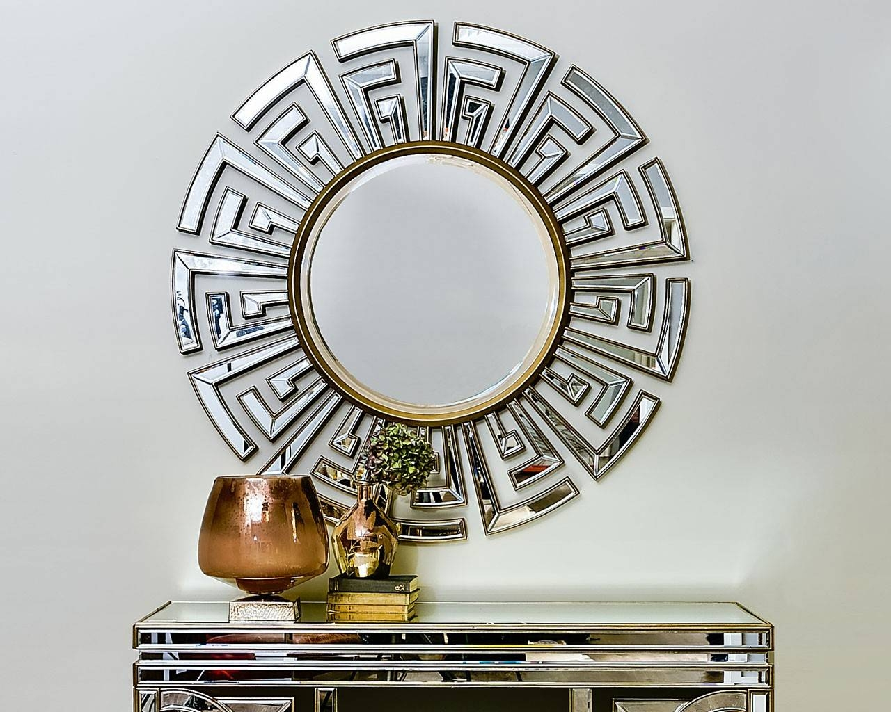 Contemporary Art Deco Round Mirror | Statement Circular Mirrors inside Round Art Deco Mirrors (Image 6 of 15)