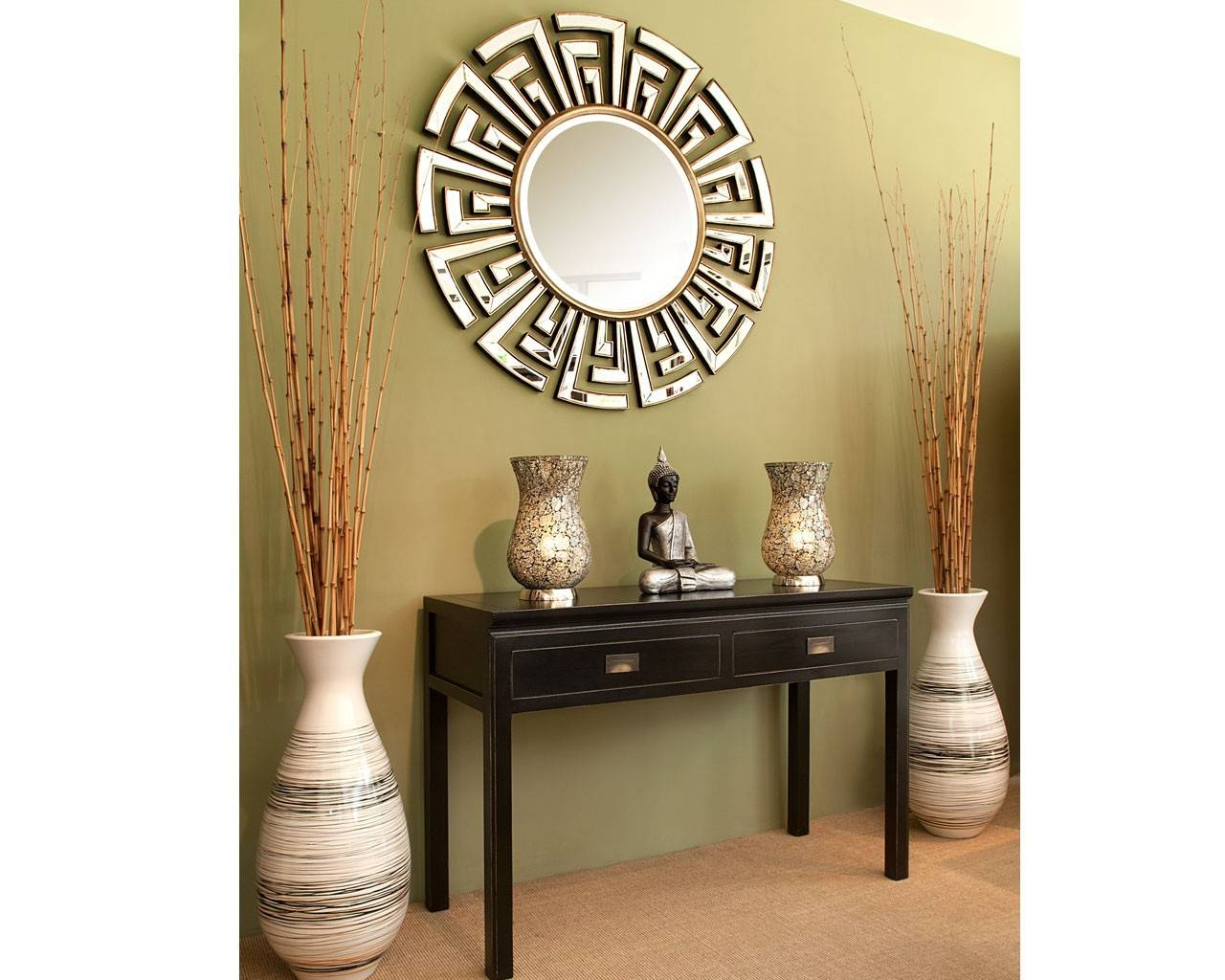 Contemporary Art Deco Round Mirror | Statement Circular Mirrors regarding Round Art Deco Mirrors (Image 7 of 15)