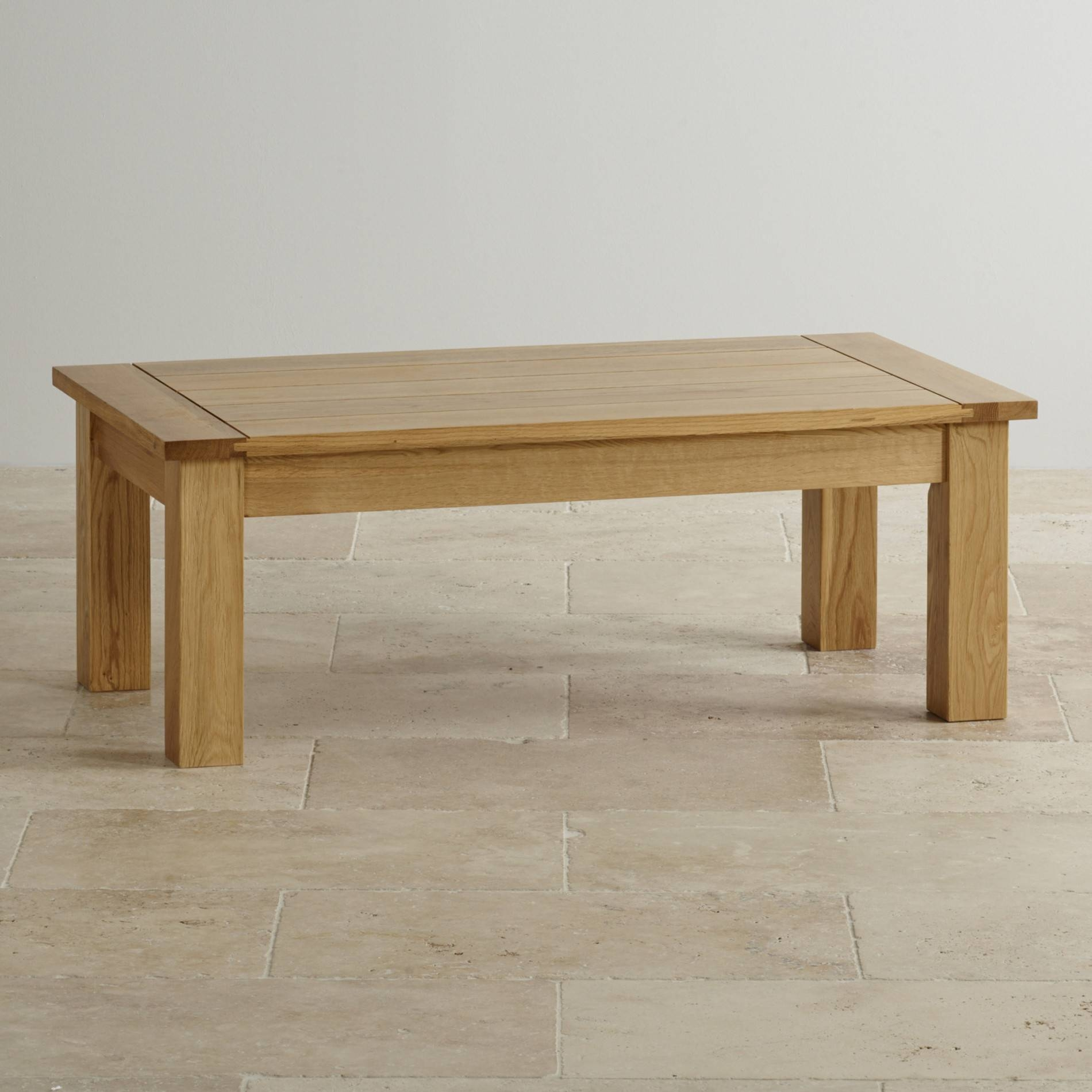 Contemporary Coffee Table In Natural Solid Oak | Oak Furniture Land in Light Oak Coffee Tables (Image 4 of 15)