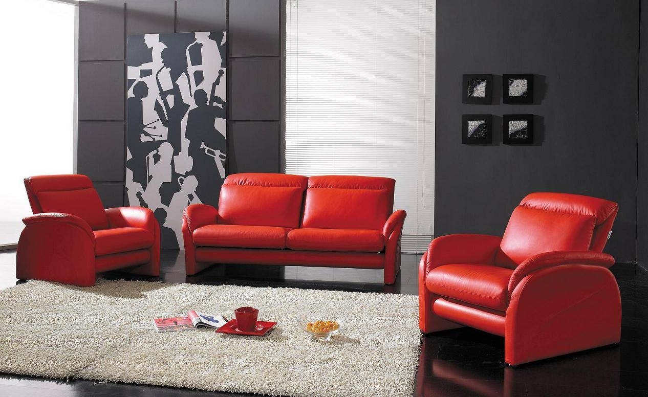 Contemporary Full Leather Red Sofa Set 44L2540 Red (View 7 of 15)