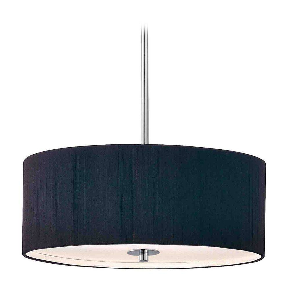Contemporary Pendant Light With Black Drum Shade In Chrome Finish pertaining to Black Drum Pendant Lights (Image 7 of 15)