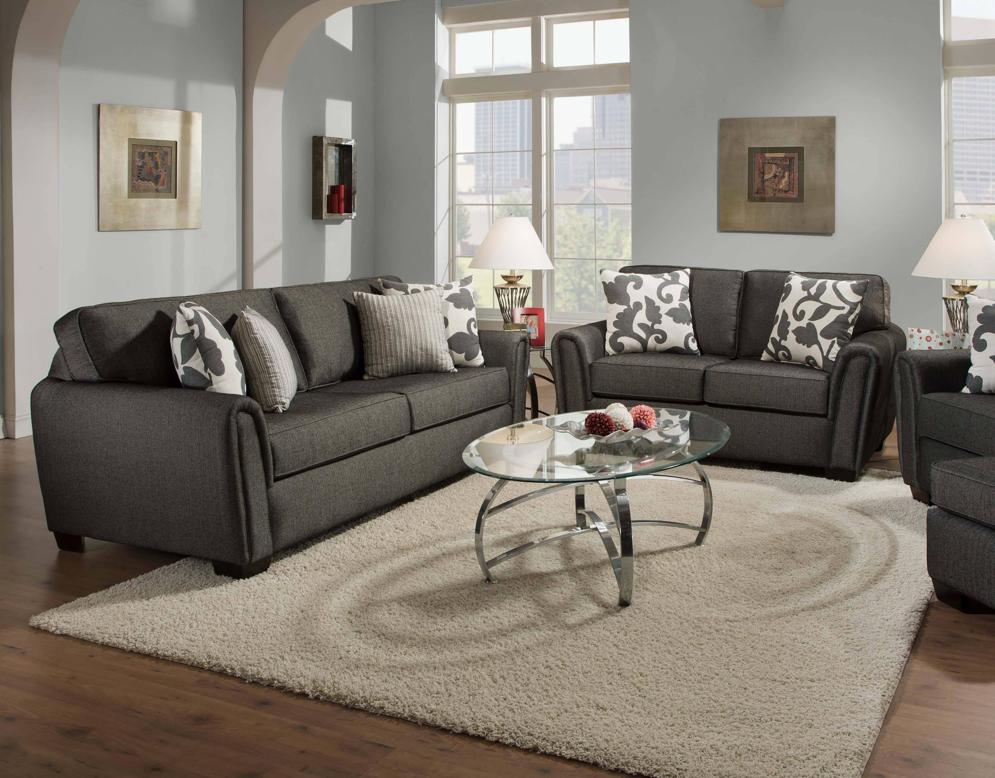 Contemporary Stationary Sofa With Tapered Roll Armscorinthian inside Corinthian Sofas (Image 3 of 15)
