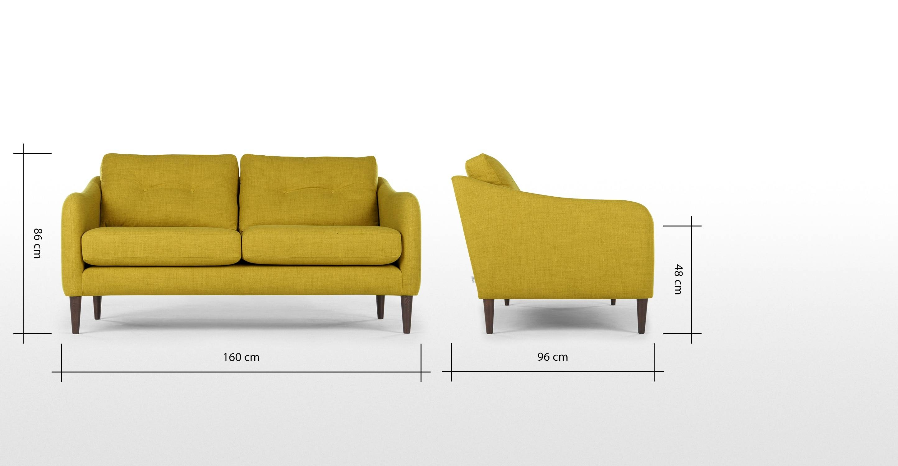 Contentterrence Conran Alban 2 Seater Sofa, Chartreuse | Made with regard to Chartreuse Sofas (Image 6 of 15)