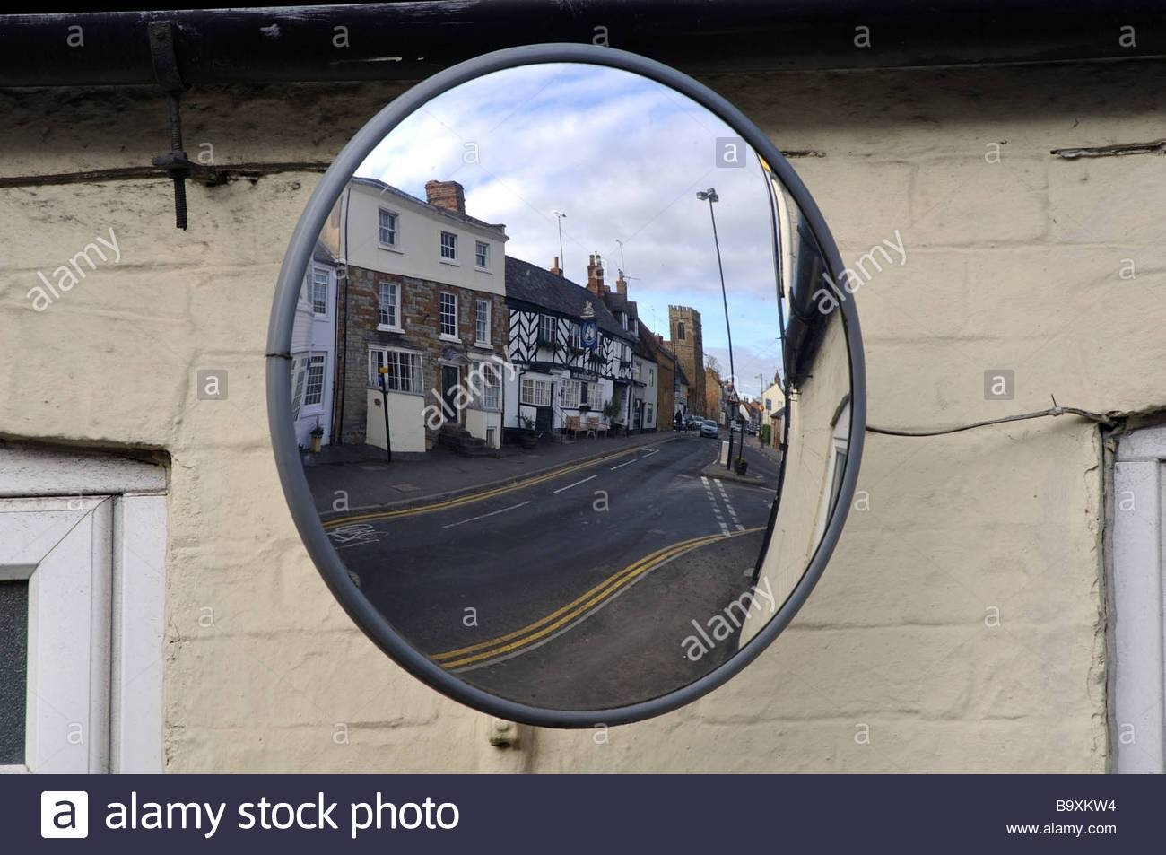 Convex Mirror In Street, Uk Stock Photo, Royalty Free Image pertaining to Convex Mirrors (Image 1 of 15)