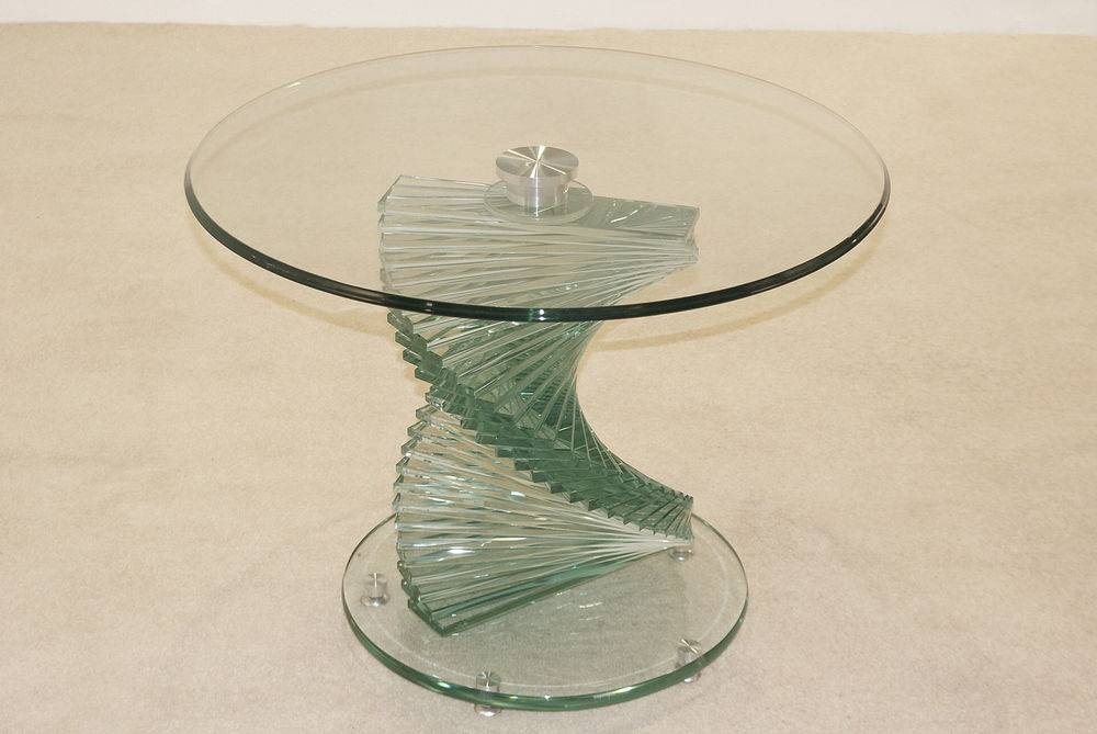Cordoba Spiral Base Round Clear Glass Lamp Side End Coffee Table inside Spiral Glass Coffee Table (Image 9 of 15)