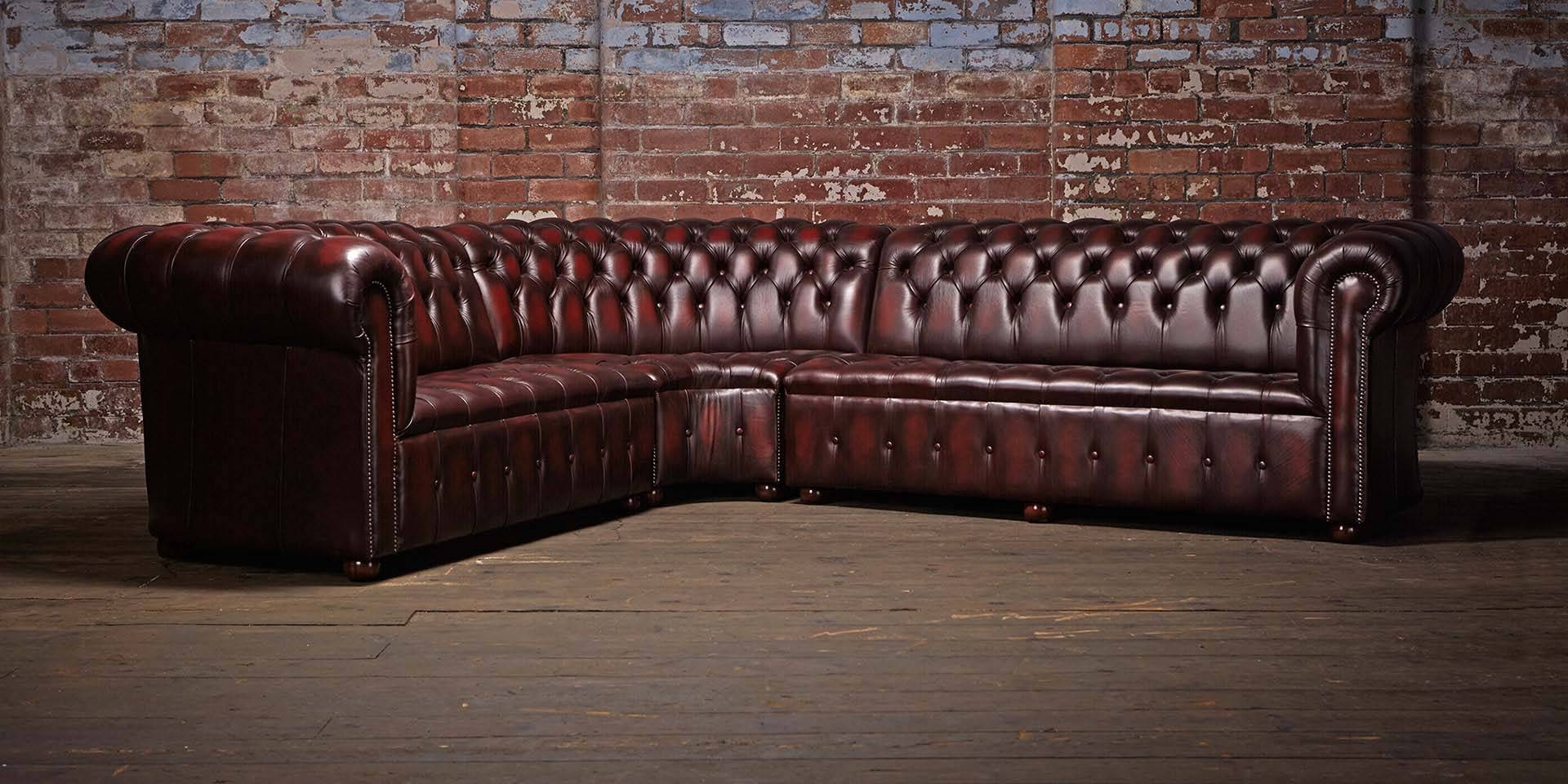 Corner Suite Chesterfield Sofa | Chesterfields Of England with Red Leather Chesterfield Sofas (Image 8 of 15)