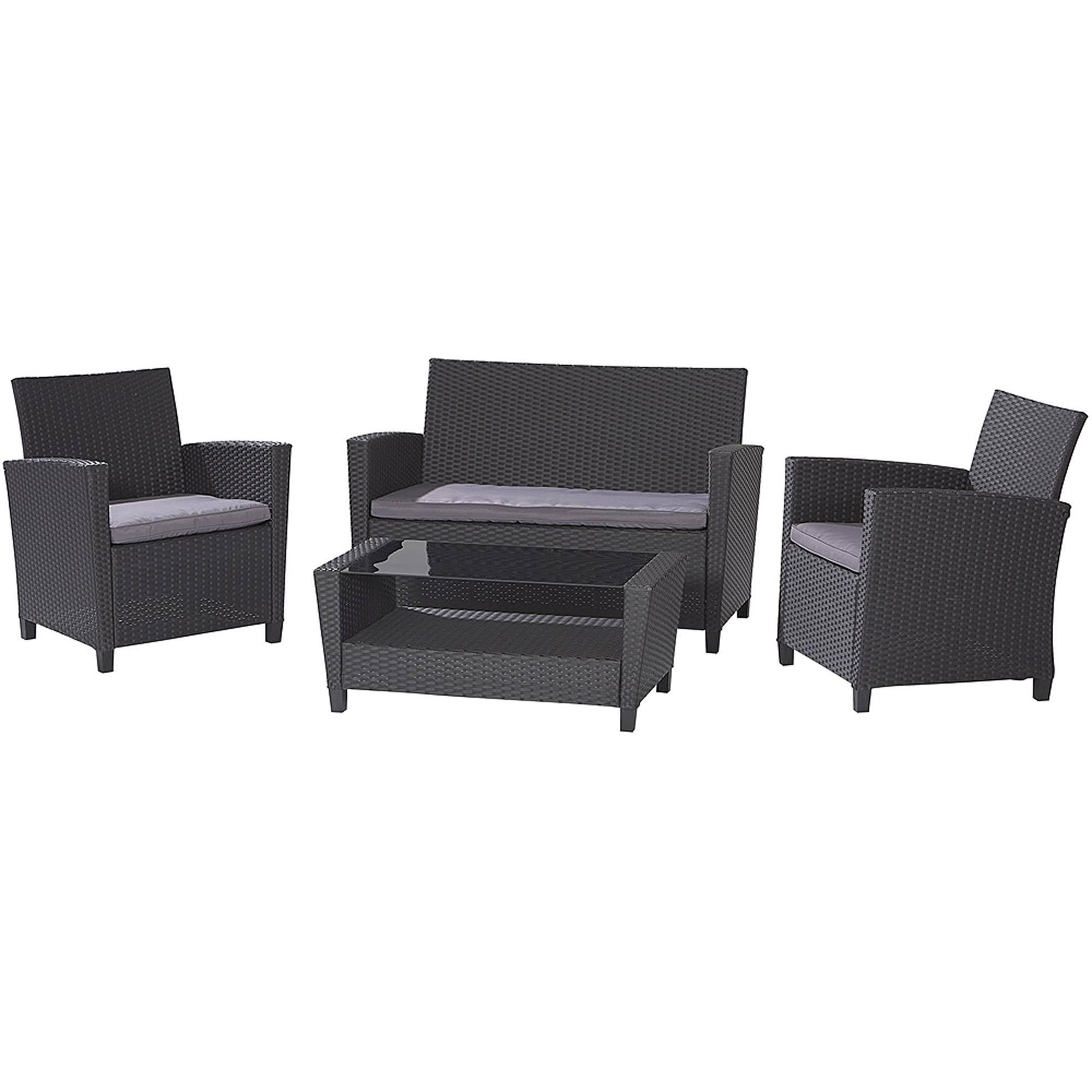Cosco Outdoor Malmo 4 Piece Resin Wicker Patio Conversation Set Regarding Black Wicker Sofas (View 7 of 15)