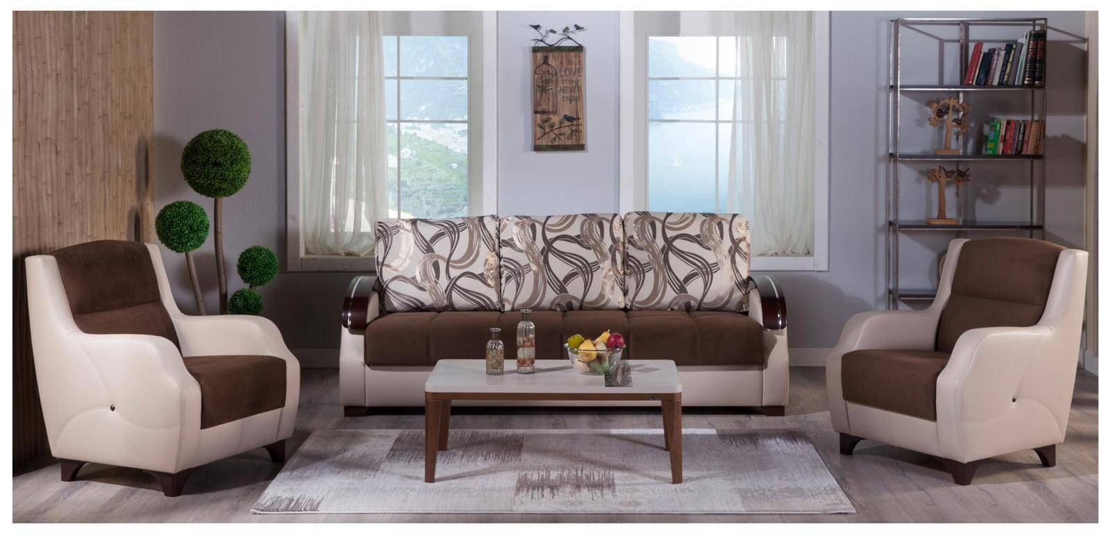 Costa Best Brown Sofa & 2 Chairs Setsunset throughout Brown Sofa Chairs (Image 8 of 15)