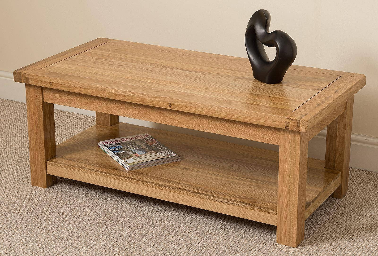 Cottage Light Solid Oak Coffee Table | Oak Furniture King intended for Oak Furniture Coffee Tables (Image 5 of 15)