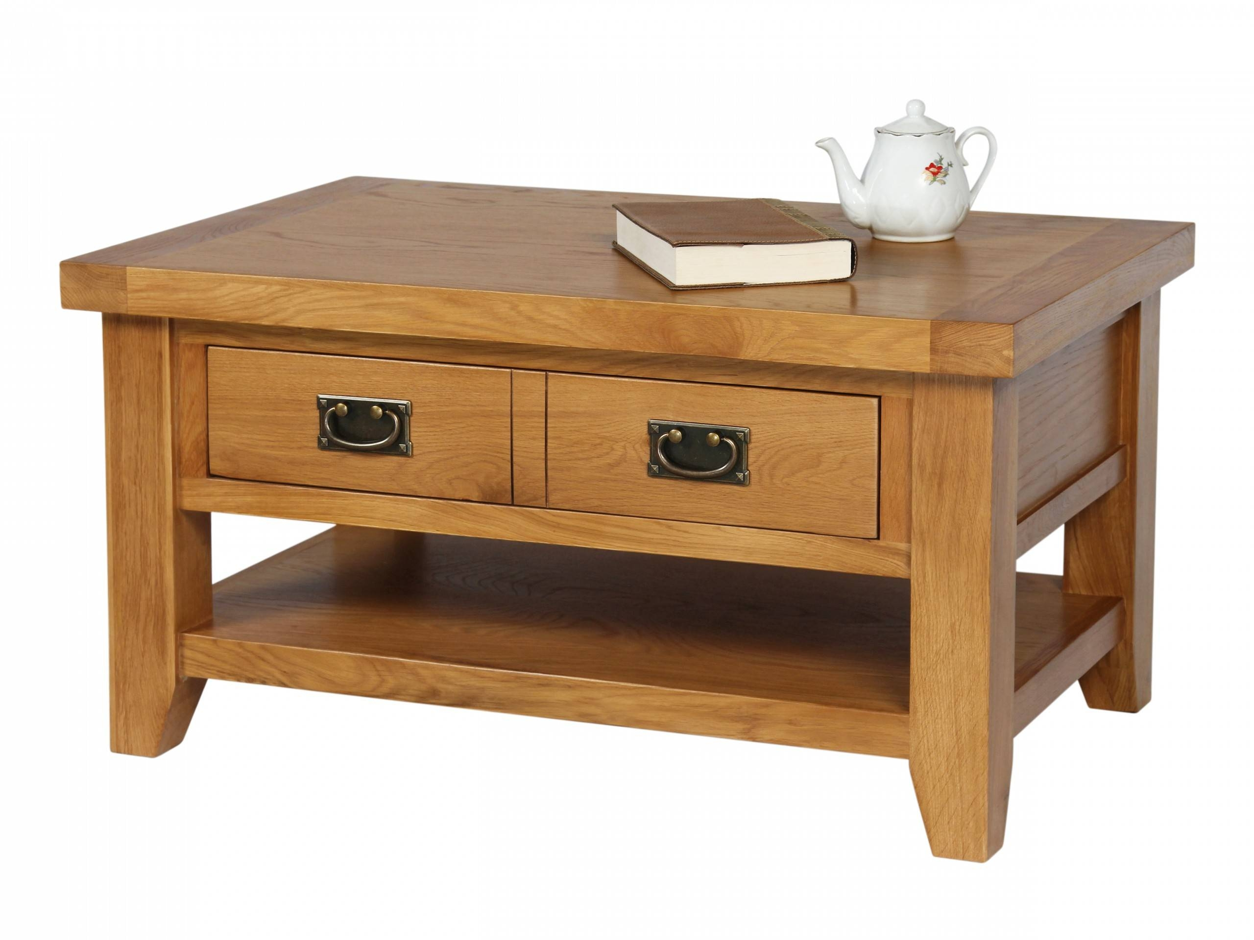 Country Oak Coffee Table With Drawer & Shelf within Oak Coffee Table With Shelf (Image 6 of 15)