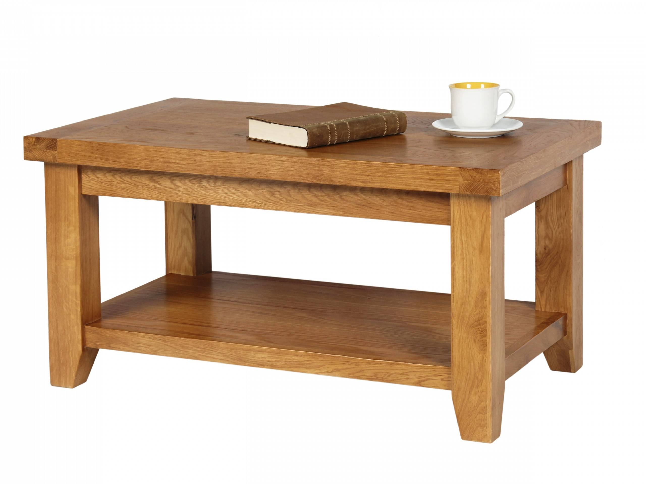 Country Oak Coffee Table With Shelf pertaining to Oak Coffee Table With Shelf (Image 7 of 15)