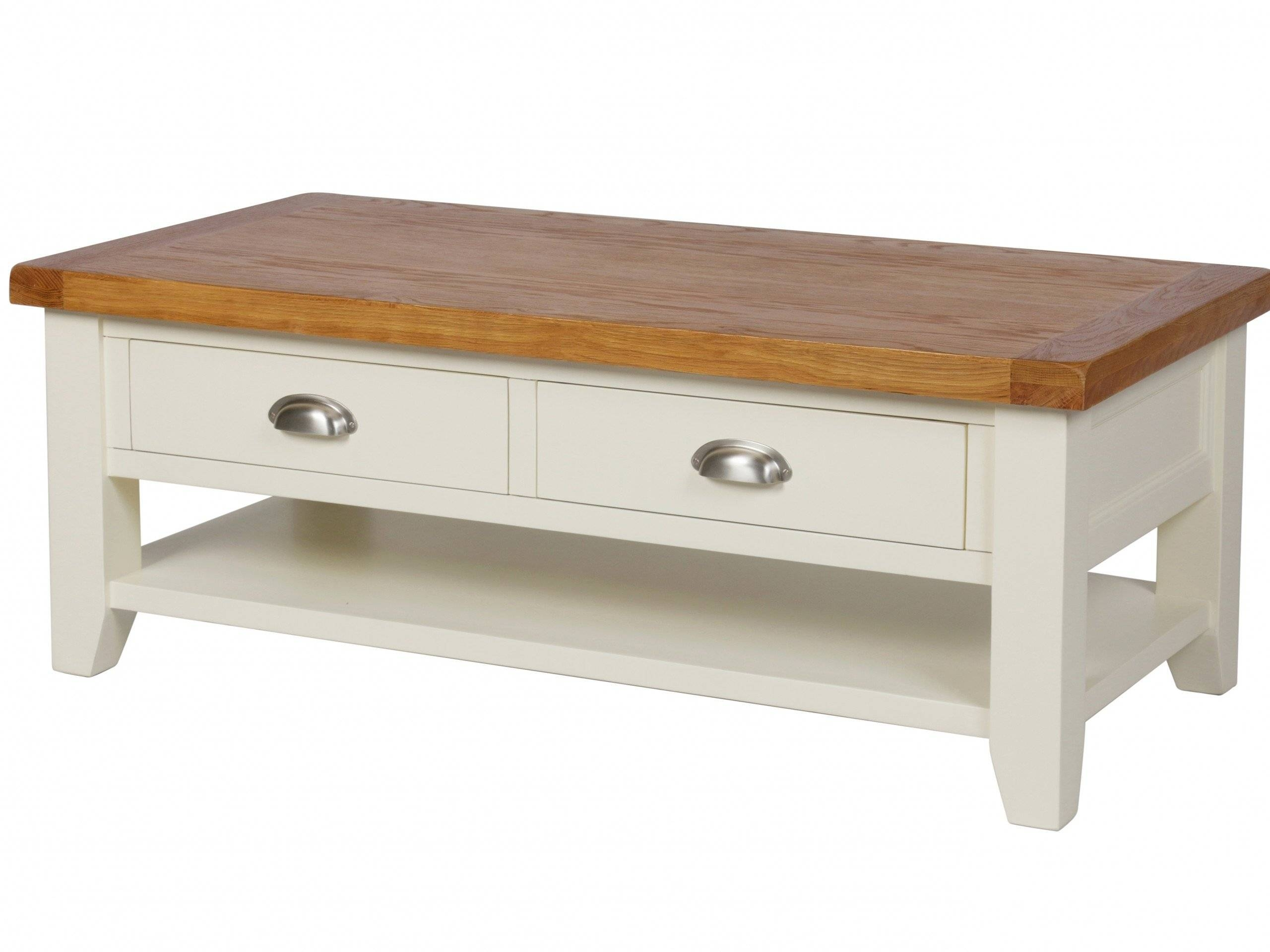 Country Oak Cream Painted Large 4 Drawer Coffee Table With Shelf regarding Oak Wood Coffee Tables (Image 6 of 15)