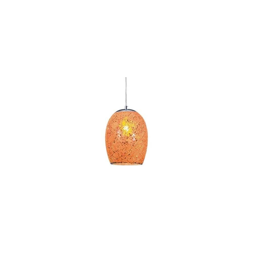 Crackle – Orange Ceiling Pendant Mosaic Glass – Lighting And Lights Uk Pertaining To Crackle Glass Pendant Lights (View 3 of 15)