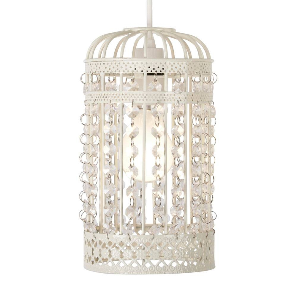 Cream Vintage Shabby Chic Style Birdcage Ceiling Light Pendant Pertaining To Birdcage Pendant Lights (View 12 of 15)