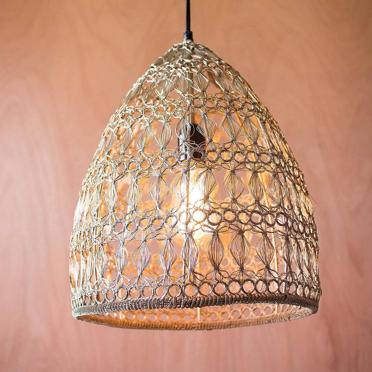 Crochet Wire Pendant Lamp | Pendant Lamp, Handmade, Metal Wire pertaining to Corded Pendant Lights (Image 1 of 15)