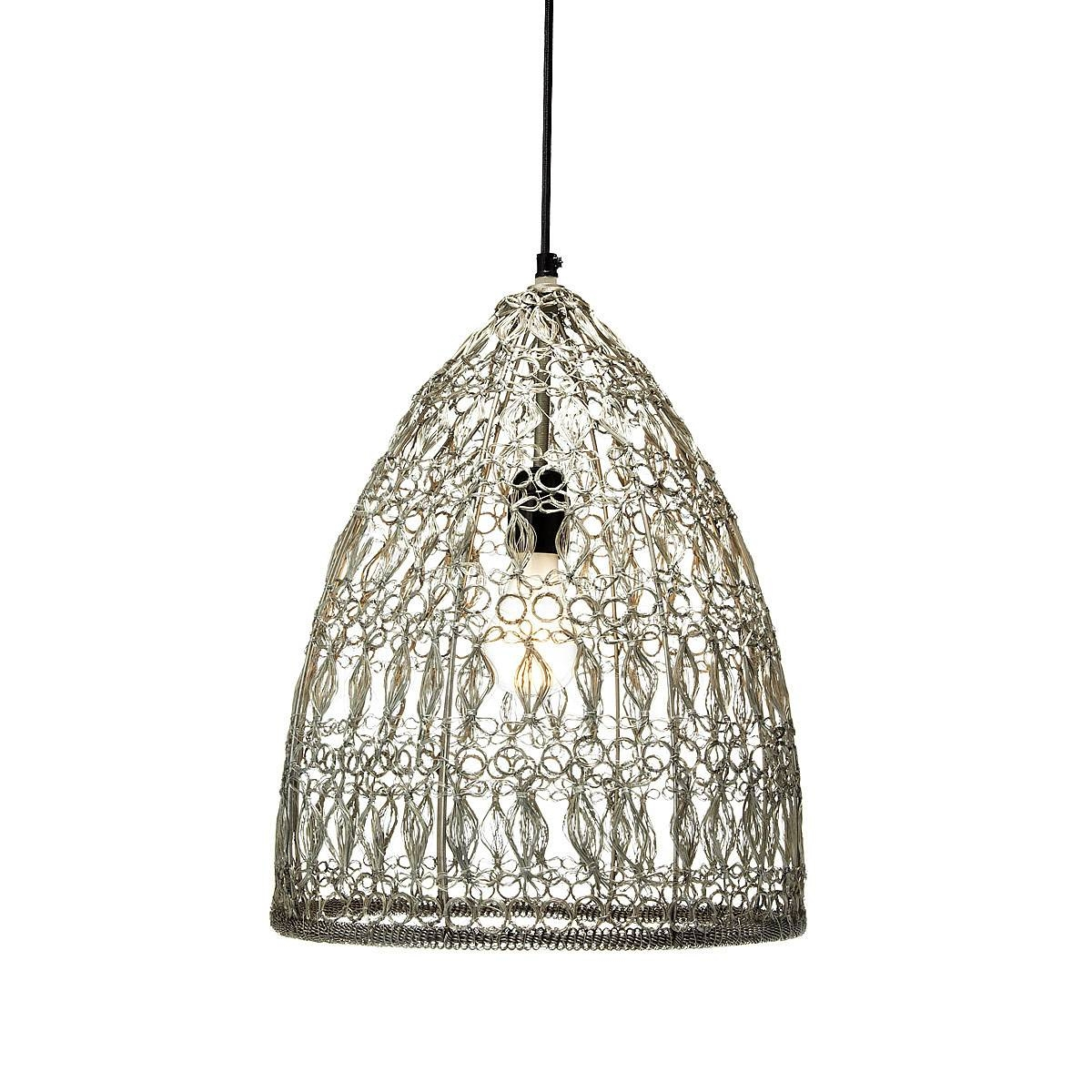 Crochet Wire Pendant Lamp | Pendant Lamp, Handmade, Metal Wire with Corded Pendant Lights (Image 2 of 15)