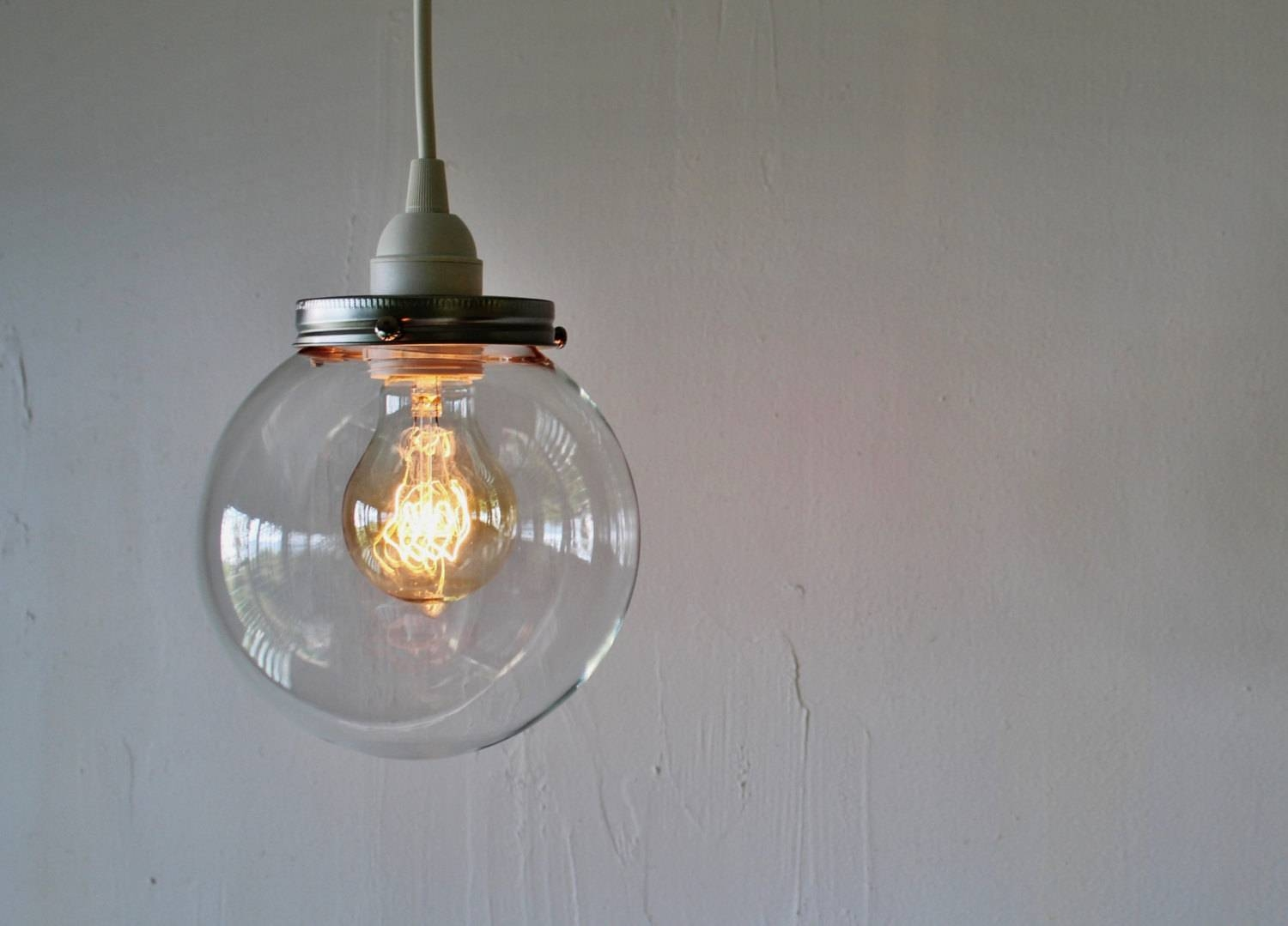 Crystal Ball Pendant Lamp Hanging Light With A Clear Round for Glass Ball Pendant Lights Uk (Image 7 of 15)