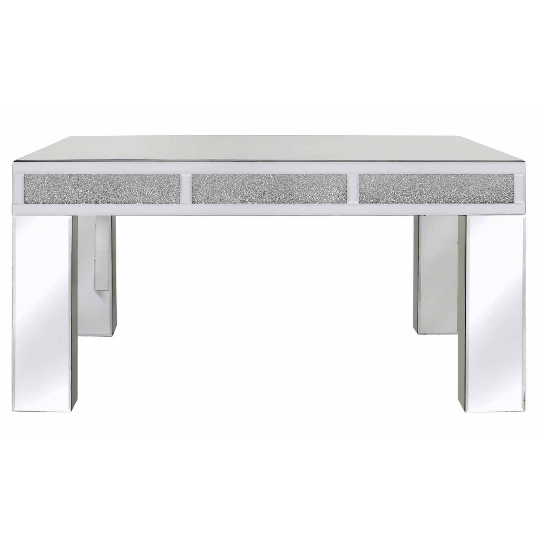 Crystal Diamond Mirrored Glass Coffee Table With Decorative Inlay in Mirror Glass Coffee Table (Image 3 of 15)