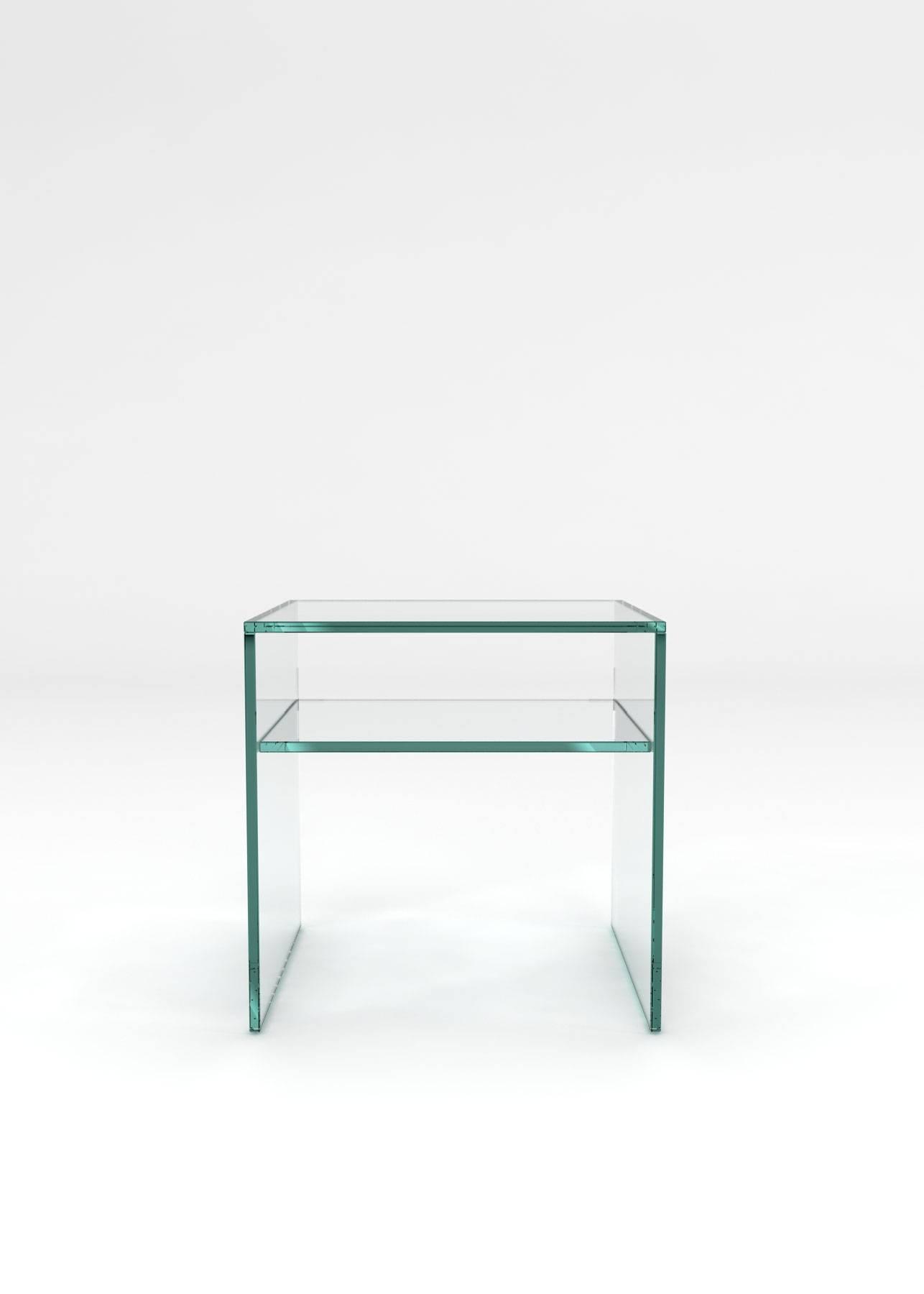 Crystal Glass Side Table 1 Shelfglassdomain - Glassdomain within Glass Coffee Table With Shelf (Image 6 of 15)