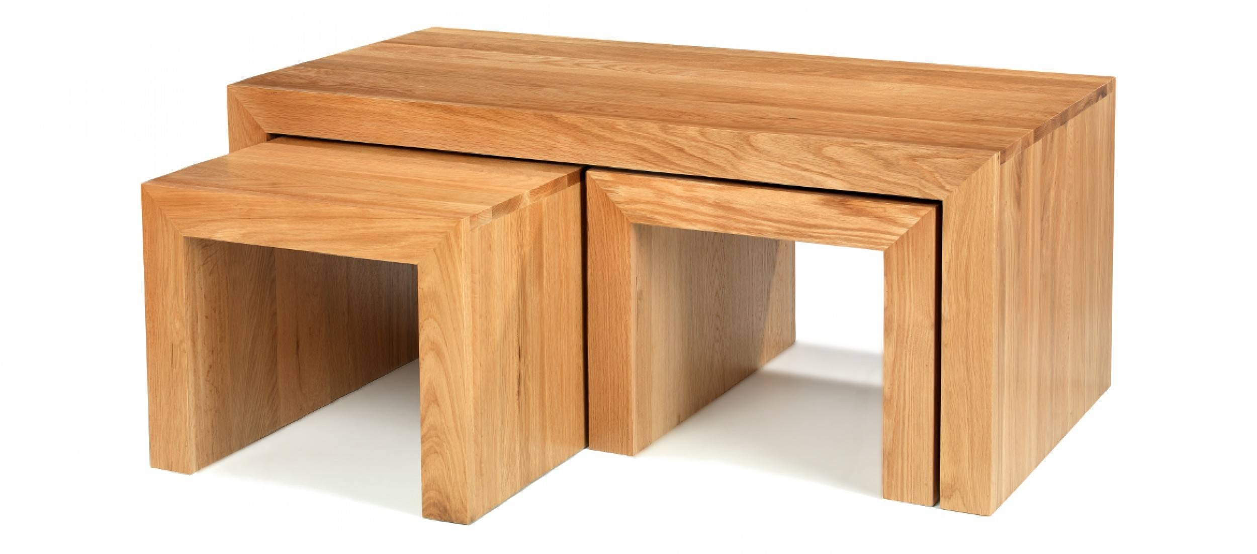 Cube Oak Long John Coffee Table | Quercus Living with Solid Oak Coffee Tables (Image 8 of 15)