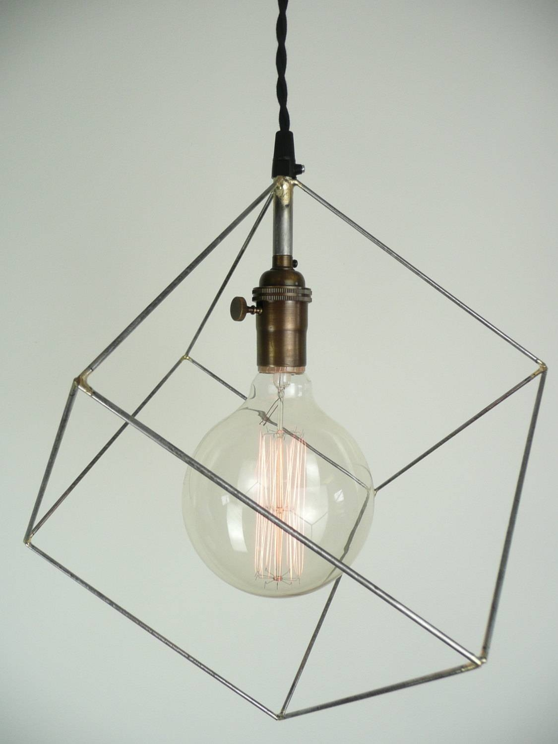 Cube Pendant Light Minimal Pendant Light Hanging Square within Himmeli Pendant Lights (Image 4 of 15)