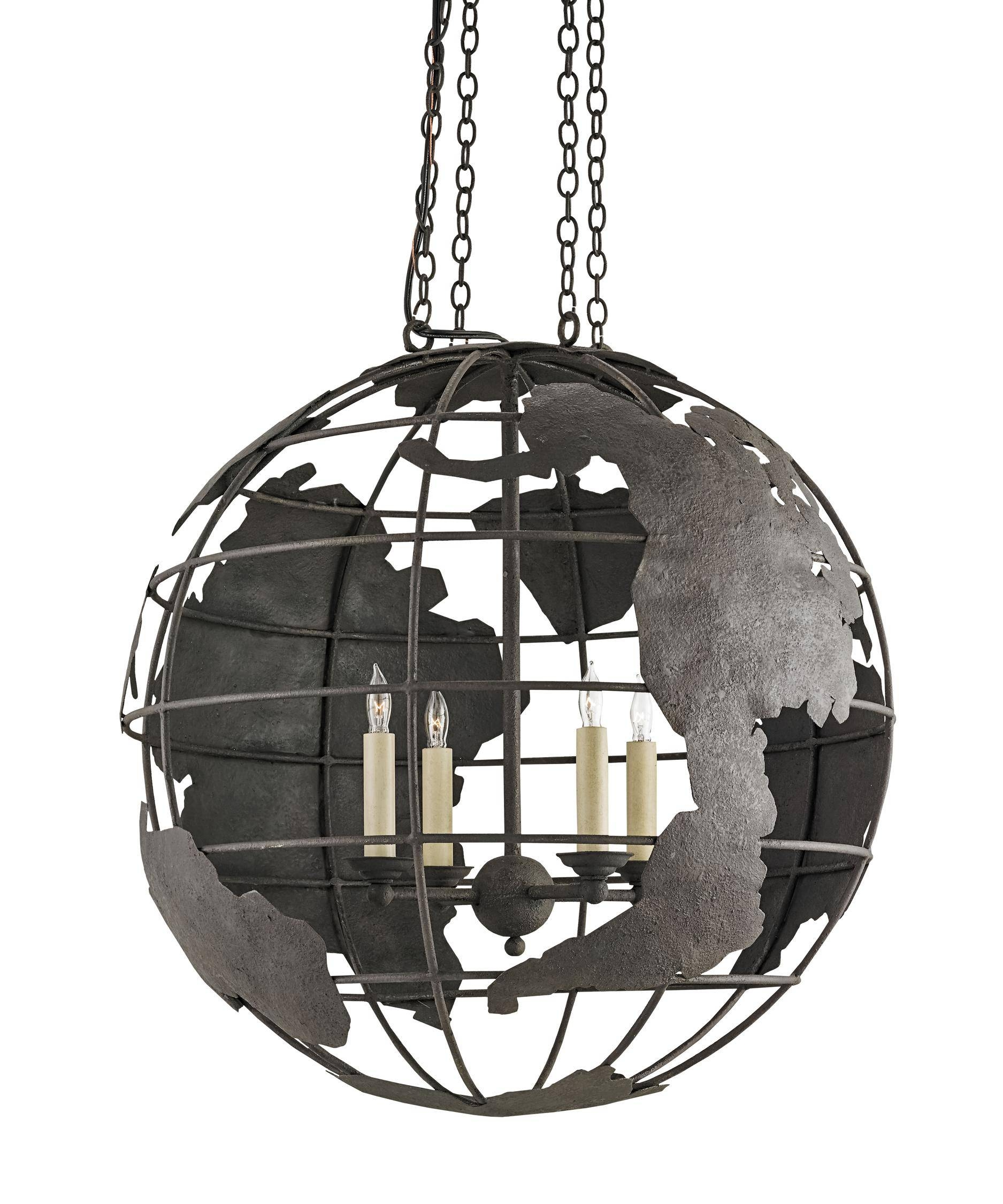 Currey And Company 9208 Mondo 23 Inch Wide 4 Light Large Pendant regarding World Globe Pendant Lights (Image 4 of 15)