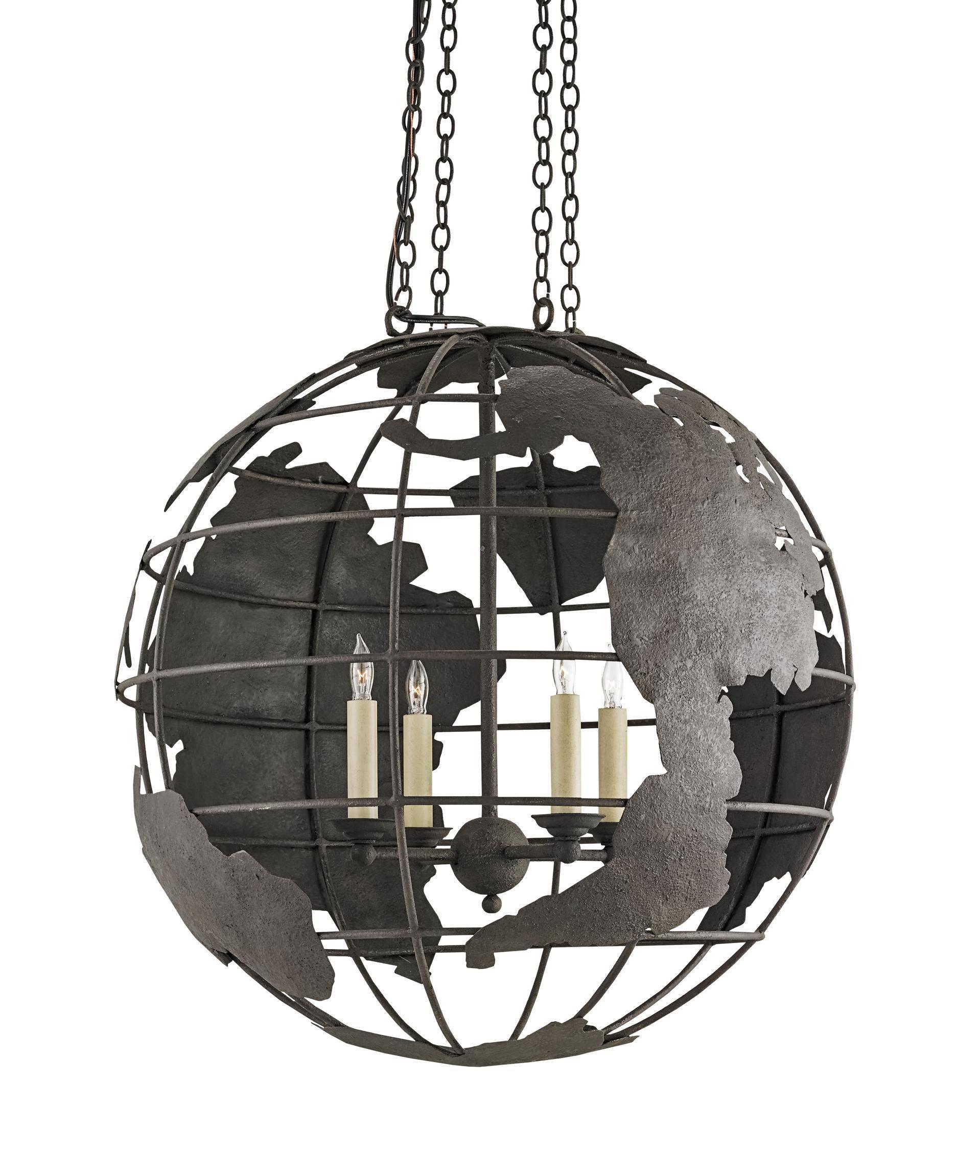 Currey And Company 9208 Mondo 23 Inch Wide 4 Light Large Pendant regarding World Globe Pendant Lights (Image 4 of 15)