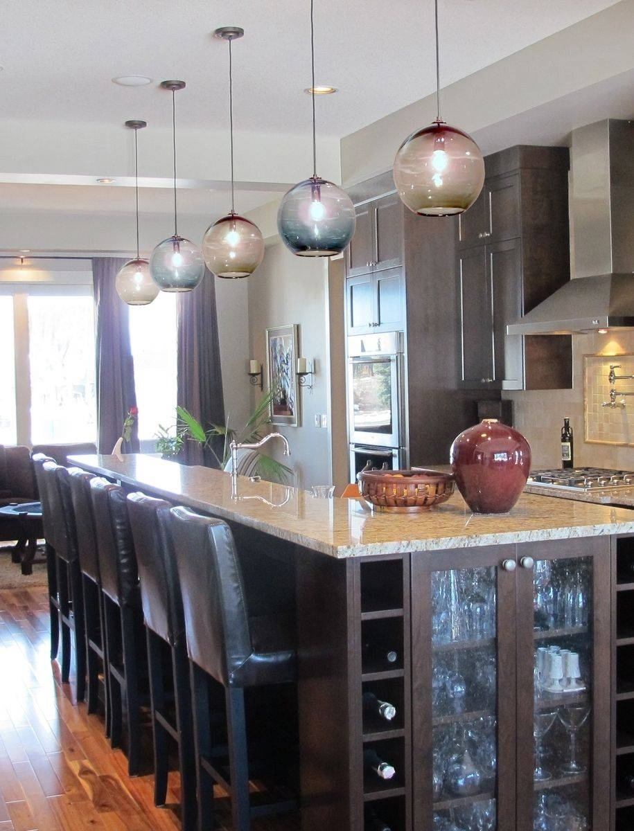 Custom 10 Inch Globe Hand Blown Glass Pendant Lighting with Blown Glass Kitchen Pendant Lights (Image 9 of 15)