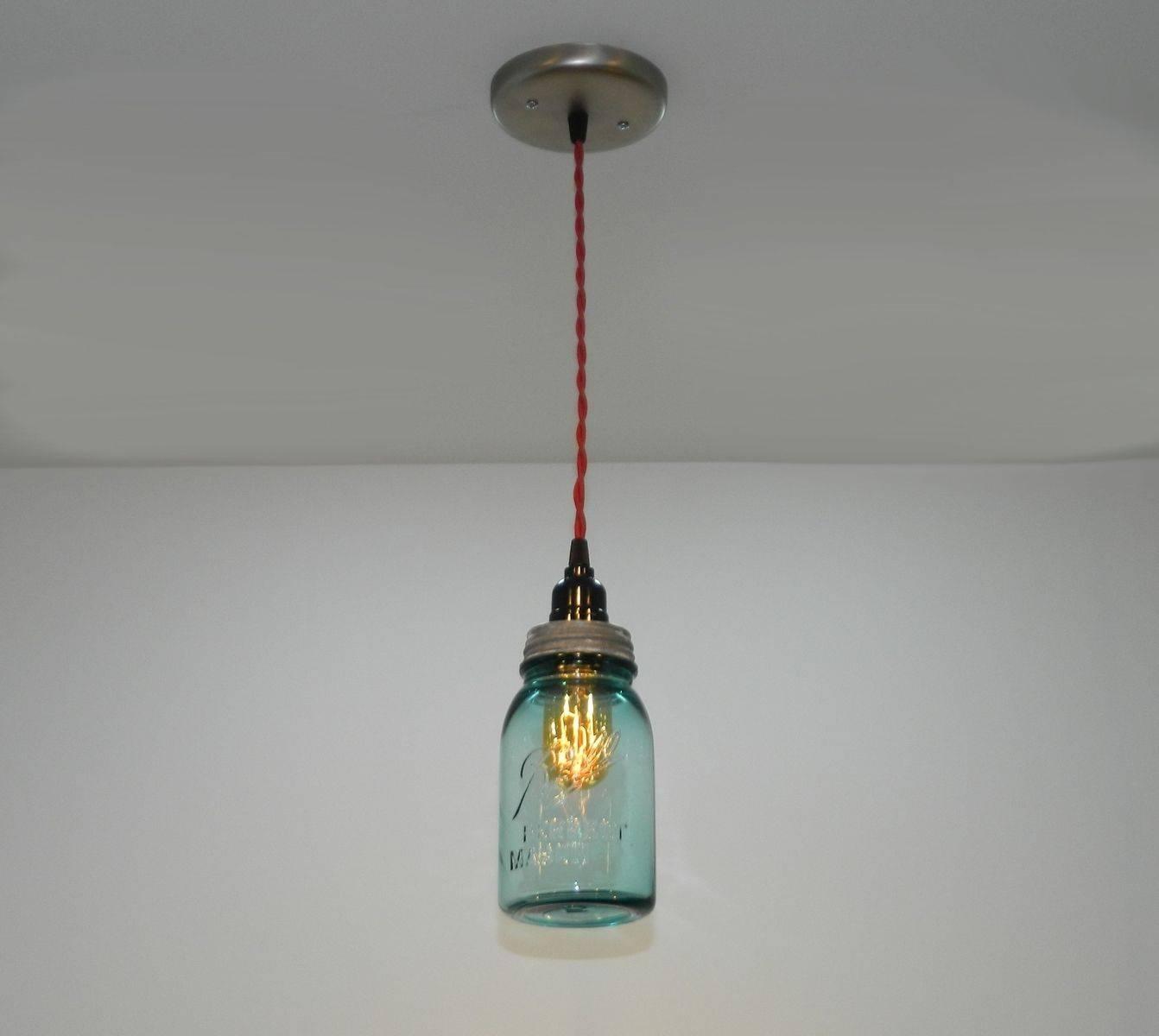 Custom Antique Aqua Ball Mason Jar Hanging Pendant Lightmilton with Ball Jar Pendant Lights (Image 6 of 15)
